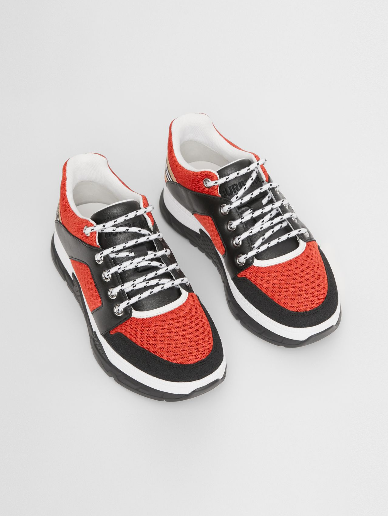 Icon Stripe Detail Leather and Mesh Sneakers in Bright Red