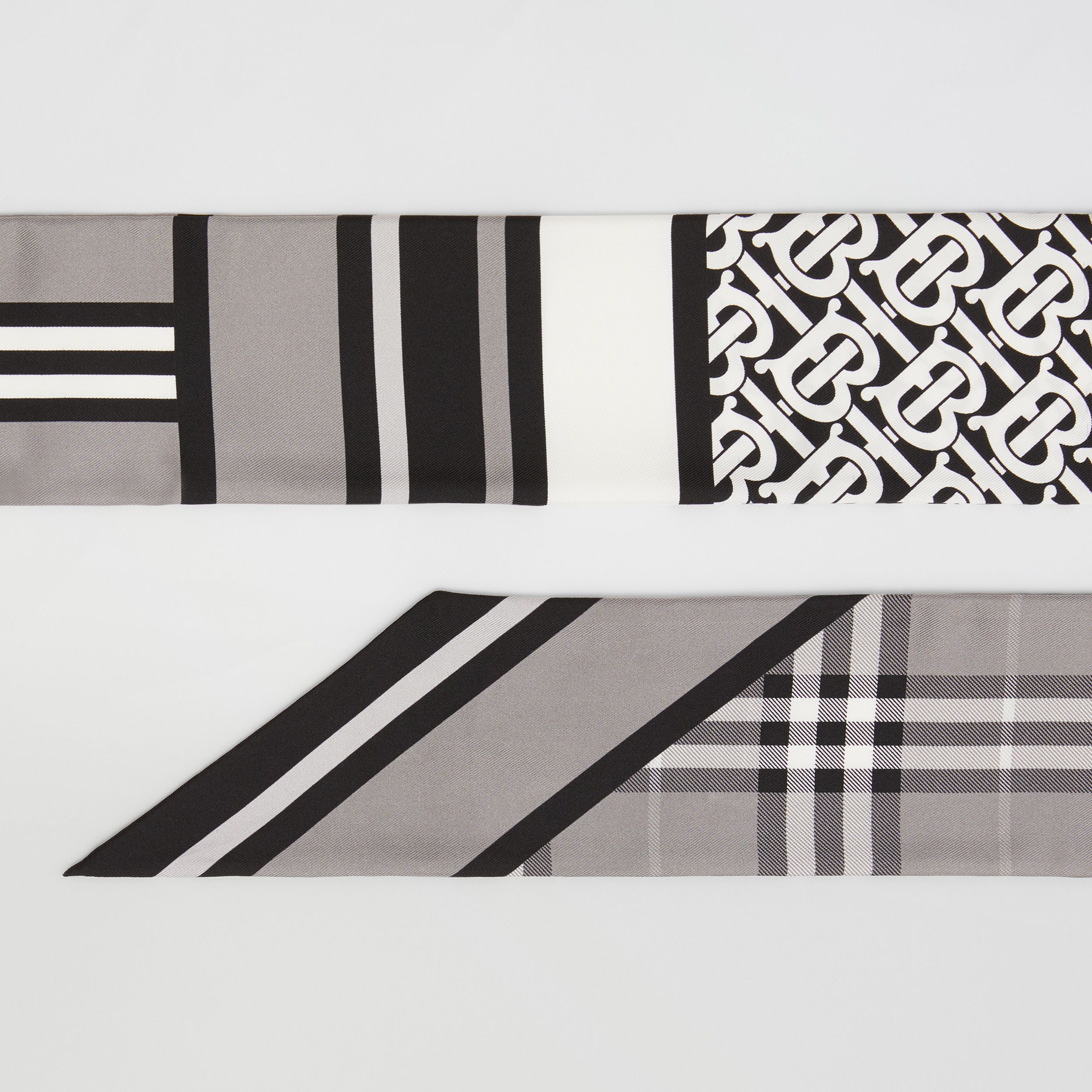 Montage Print Silk Skinny Scarf in Monochrome | Burberry Hong Kong S.A.R. - 2