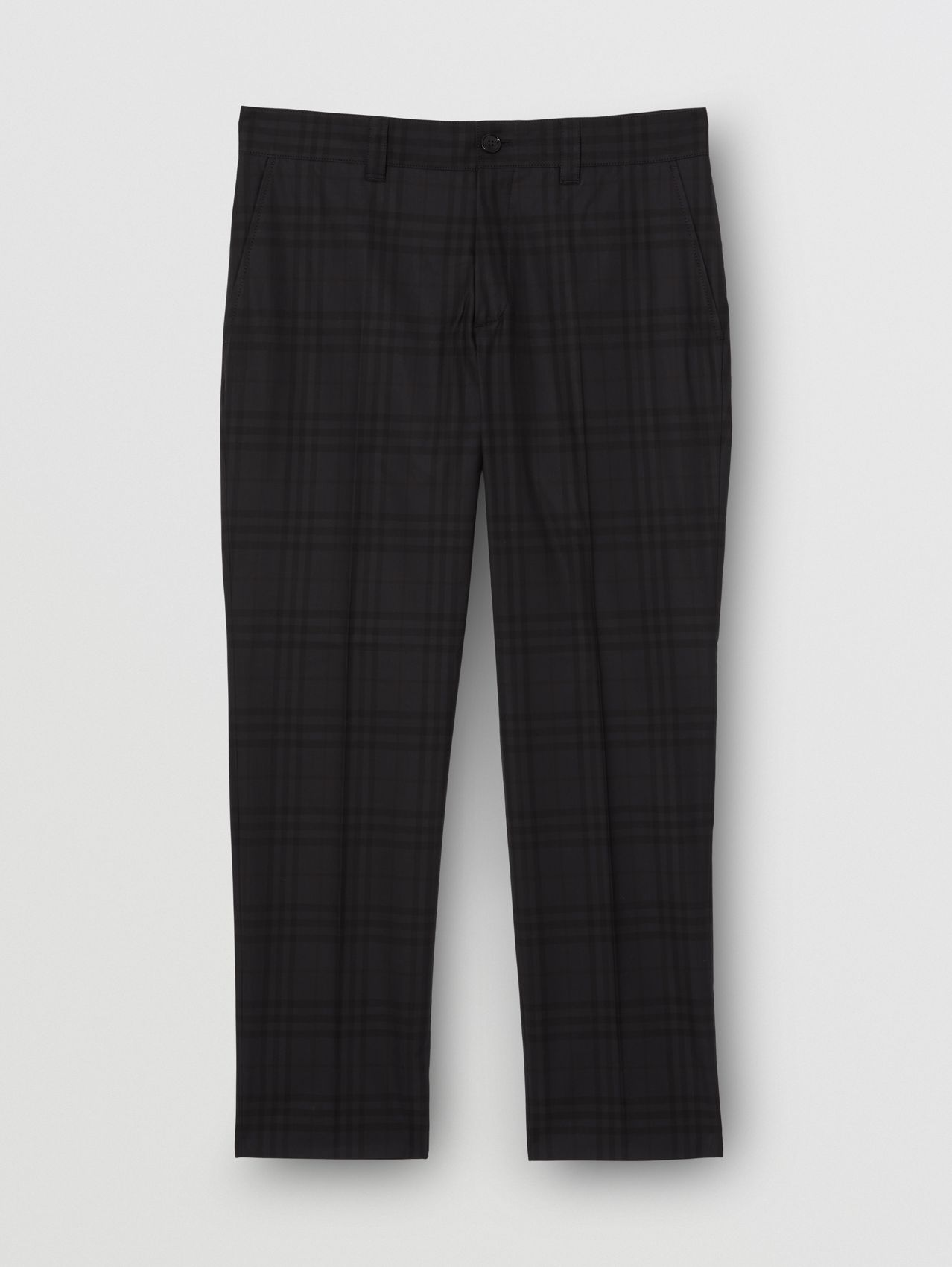 Check Cotton Cropped Tailored Trousers in Black