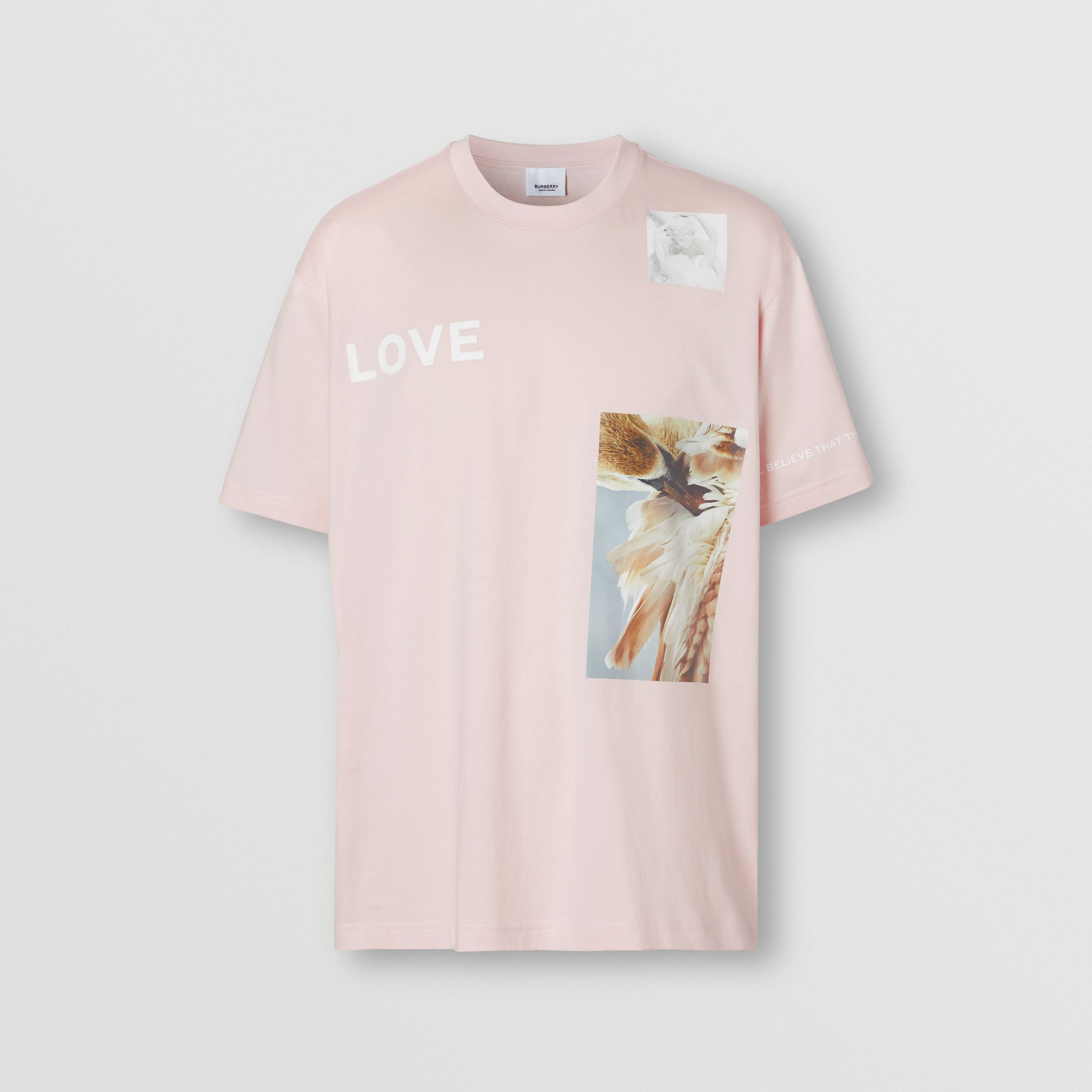 Montage Print Cotton Oversized T-shirt in Alabaster Pink - Men | Burberry - 4
