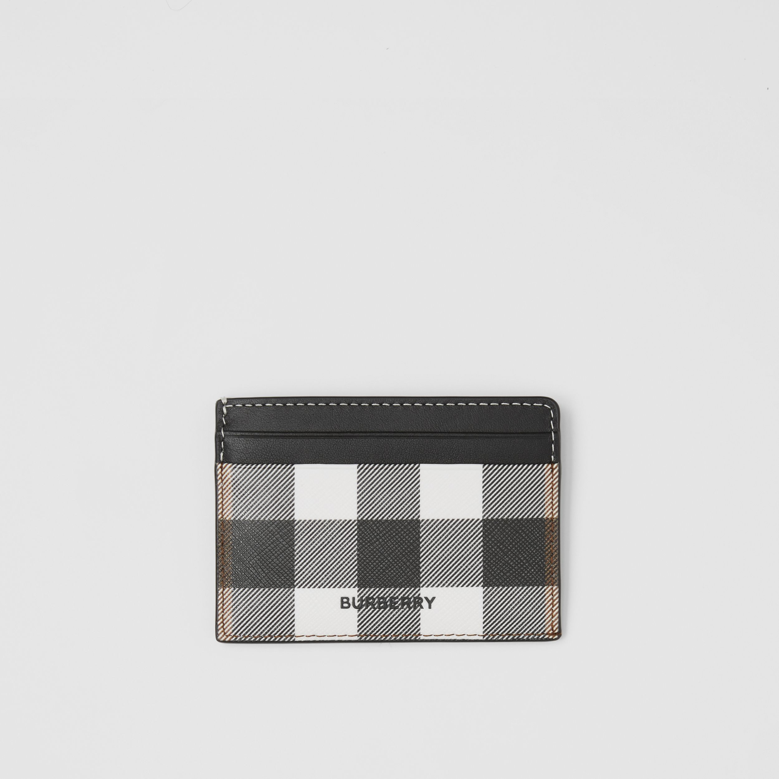 Check E-canvas and Leather Card Case in Dark Birch Brown - Men | Burberry - 1