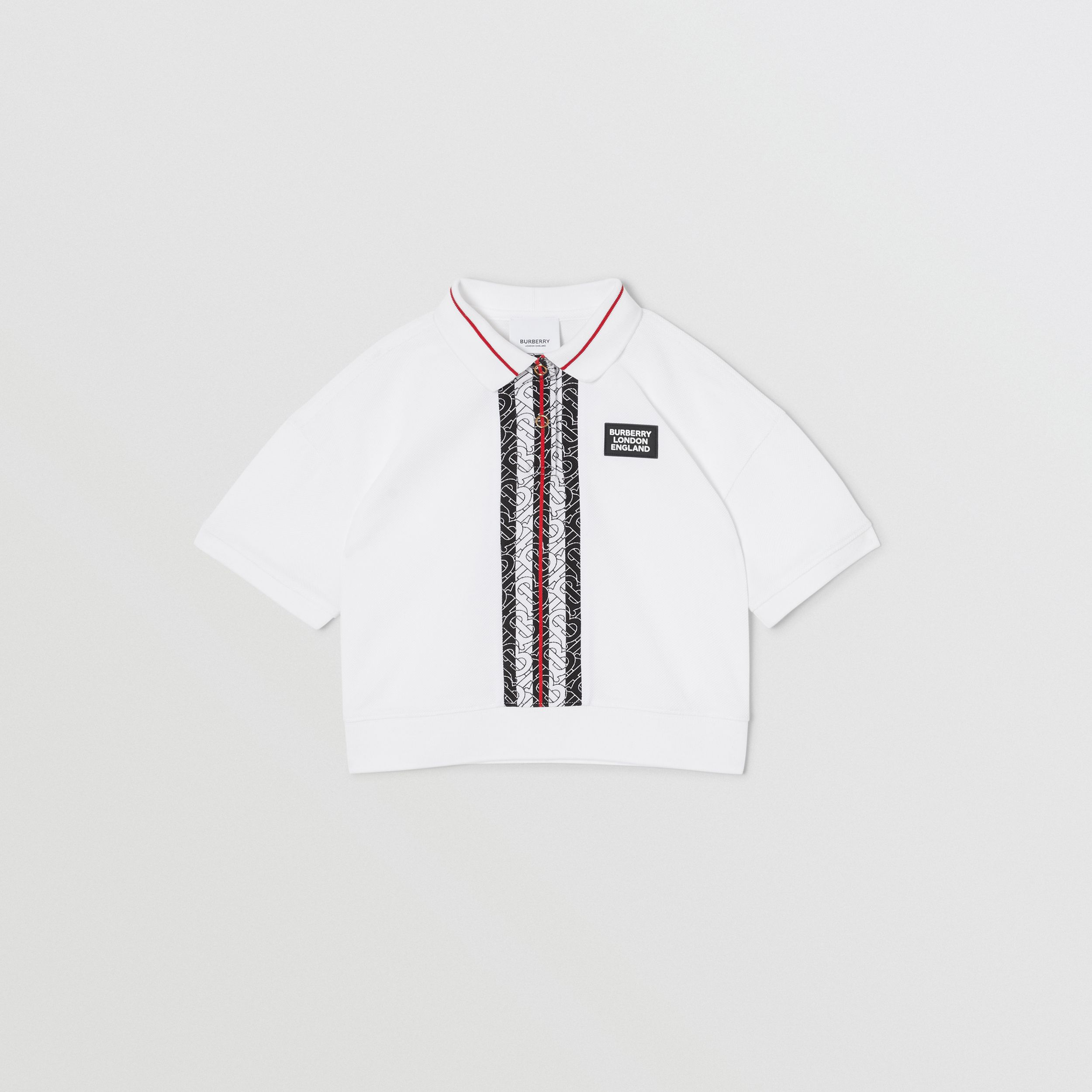 Monogram Stripe Print Cotton Piqué Polo Shirt in White | Burberry - 1