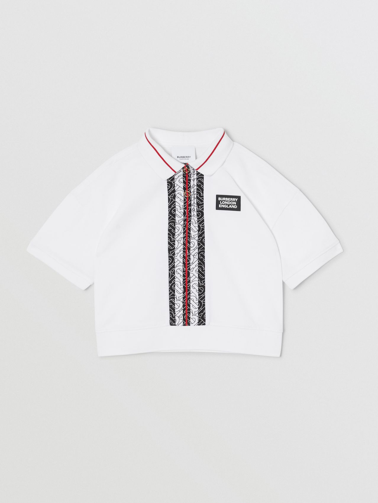 Monogram Stripe Print Cotton Piqué Polo Shirt in White