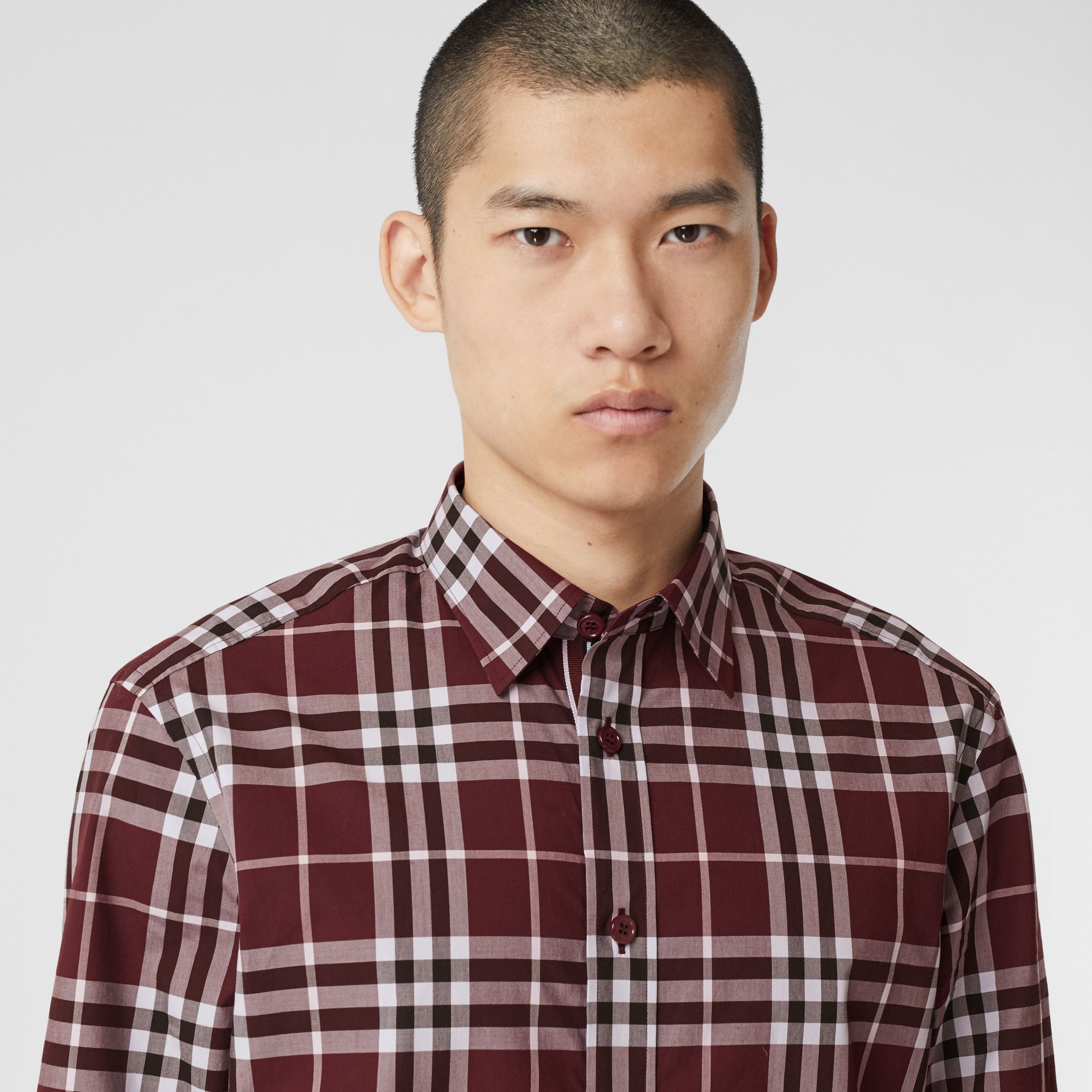 Stripe Cuff Check Cotton Shirt in Burgundy Red - Men | Burberry - 2