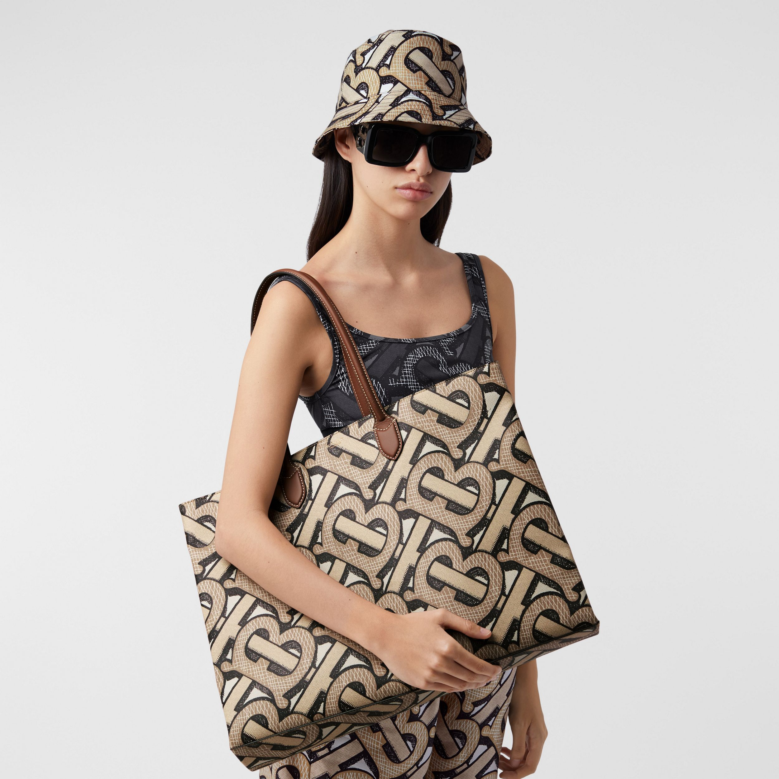 Monogram Print E-canvas Tote Bag in Dark Beige | Burberry Australia - 3