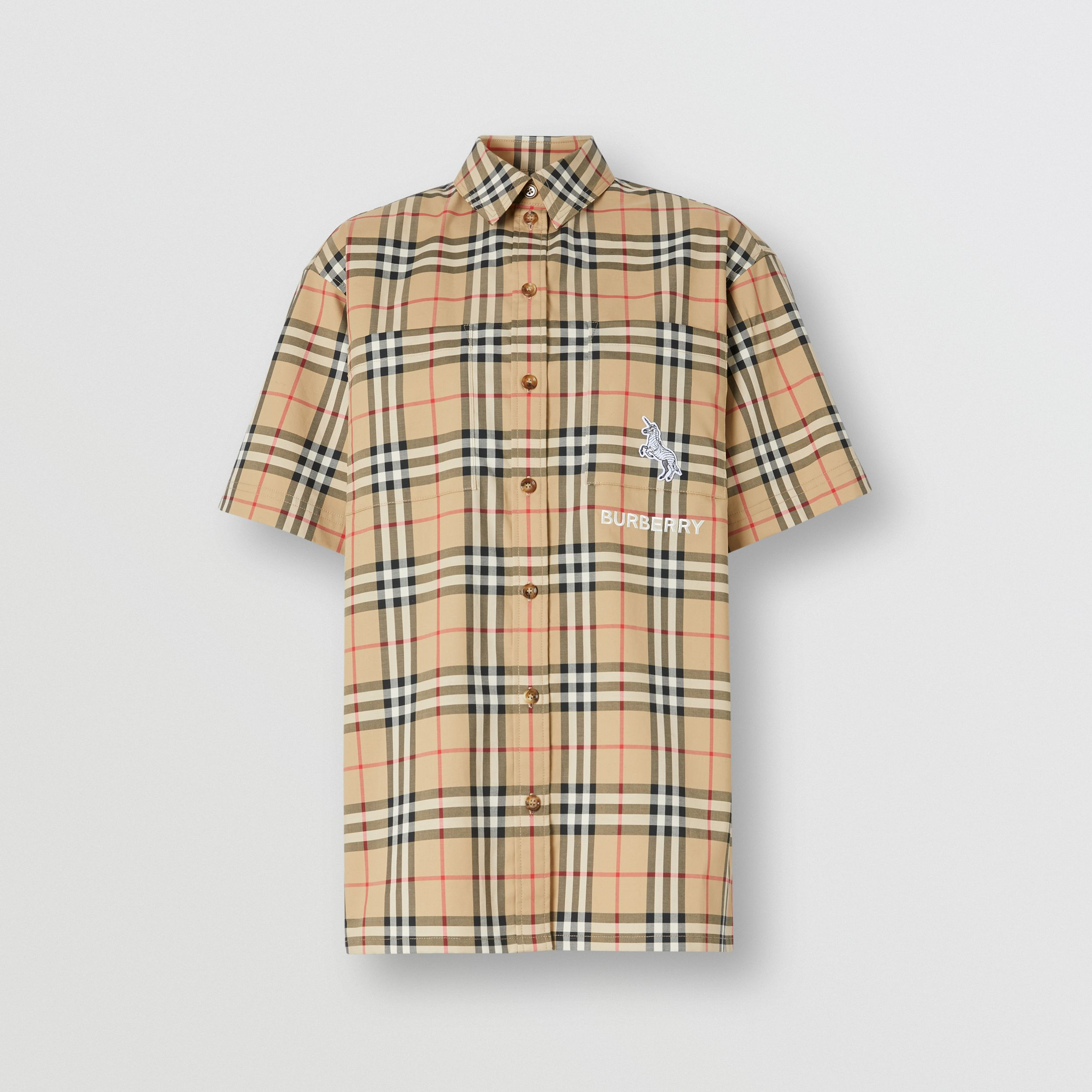 Zebra Appliqué Vintage Check Cotton Twill Shirt - Women | Burberry - 4