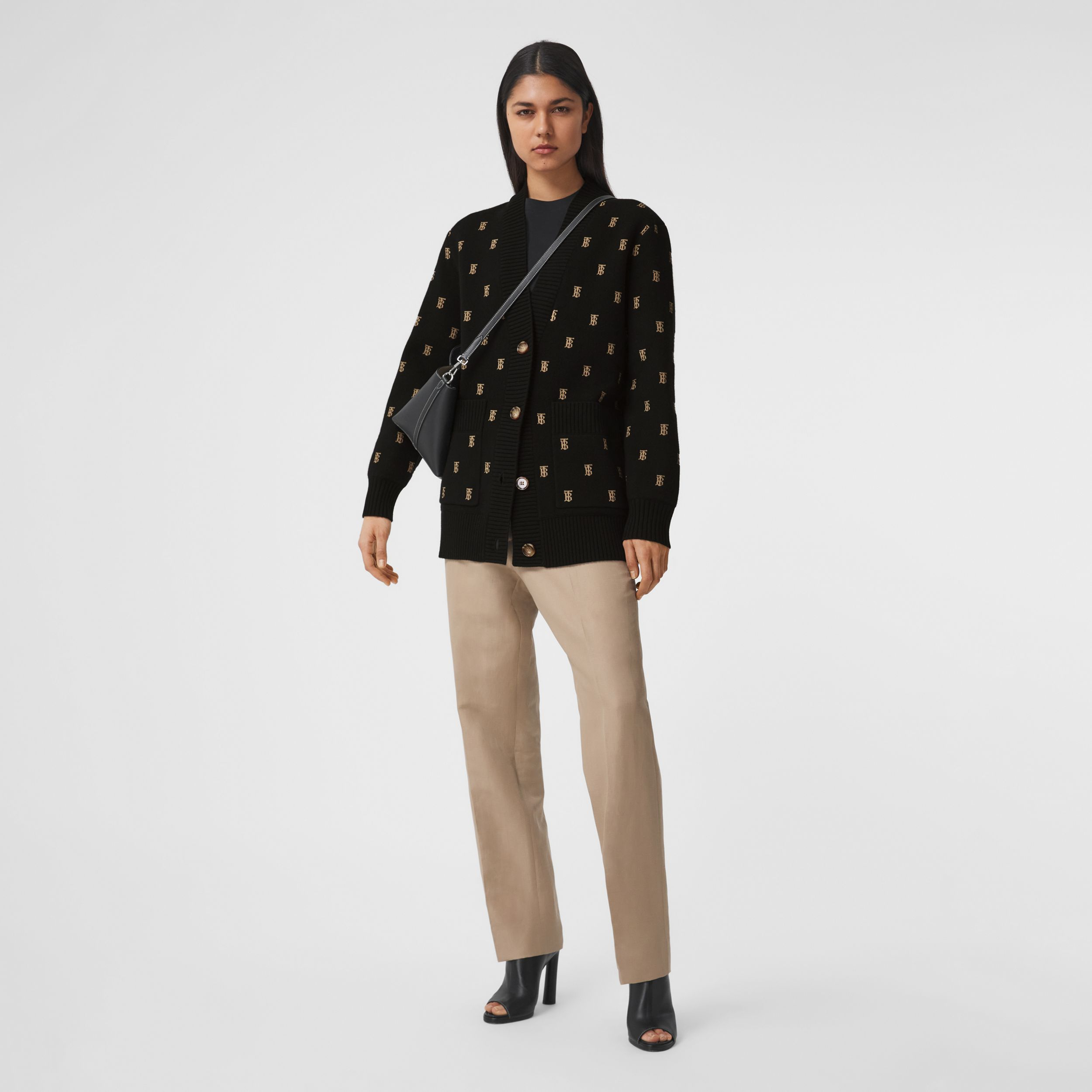 Monogram Wool Cashmere Blend Oversized Cardigan in Black - Women | Burberry - 1