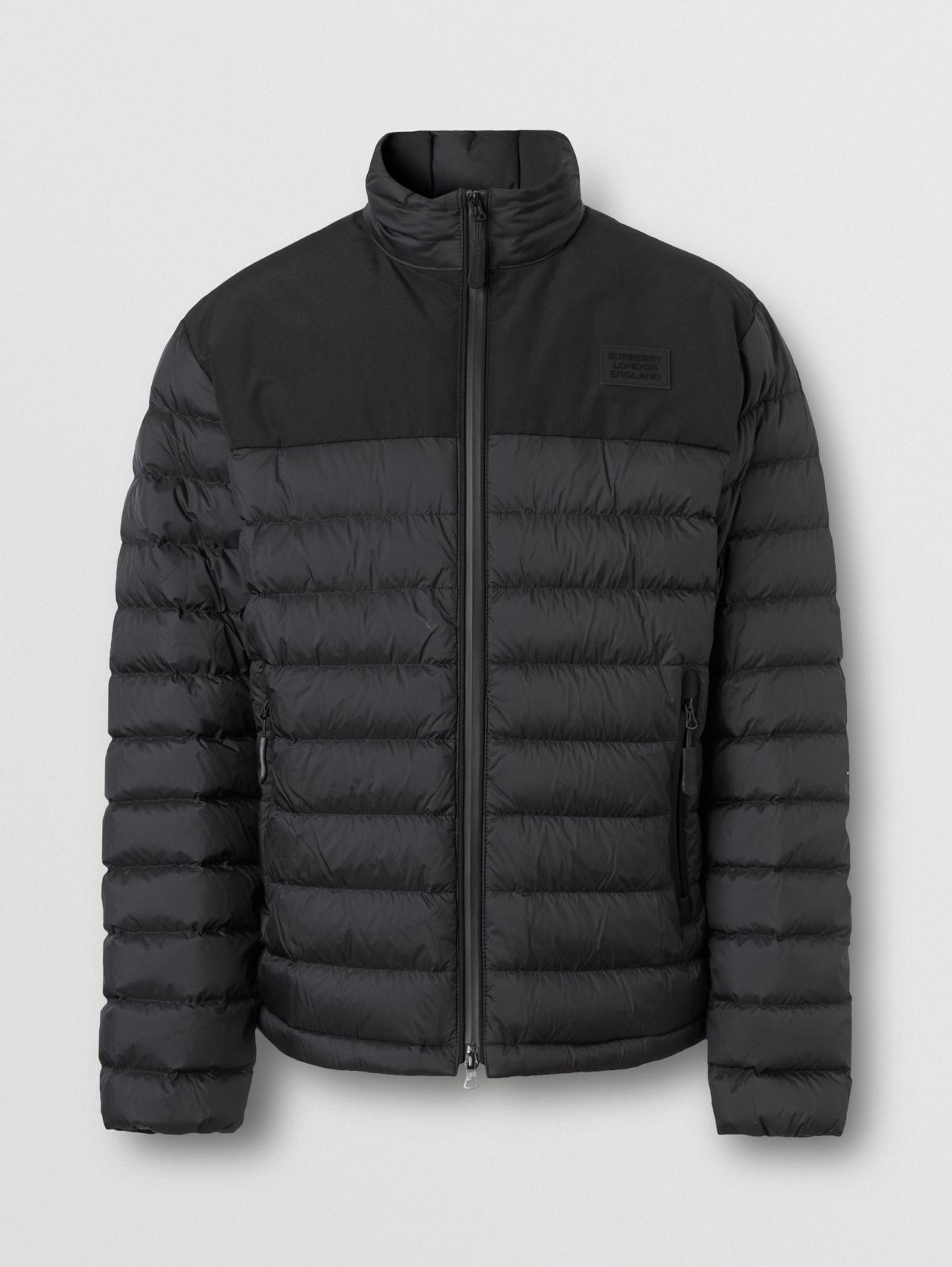 Logo Appliqué Lightweight Puffer Jacket in Black