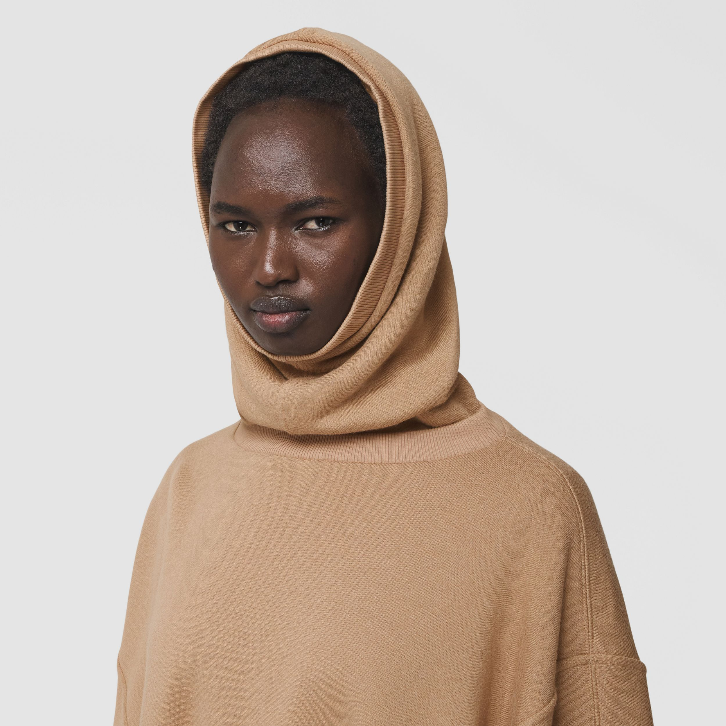 Cut-out Sleeve Jersey Hooded Cape in Camel - Women | Burberry - 2