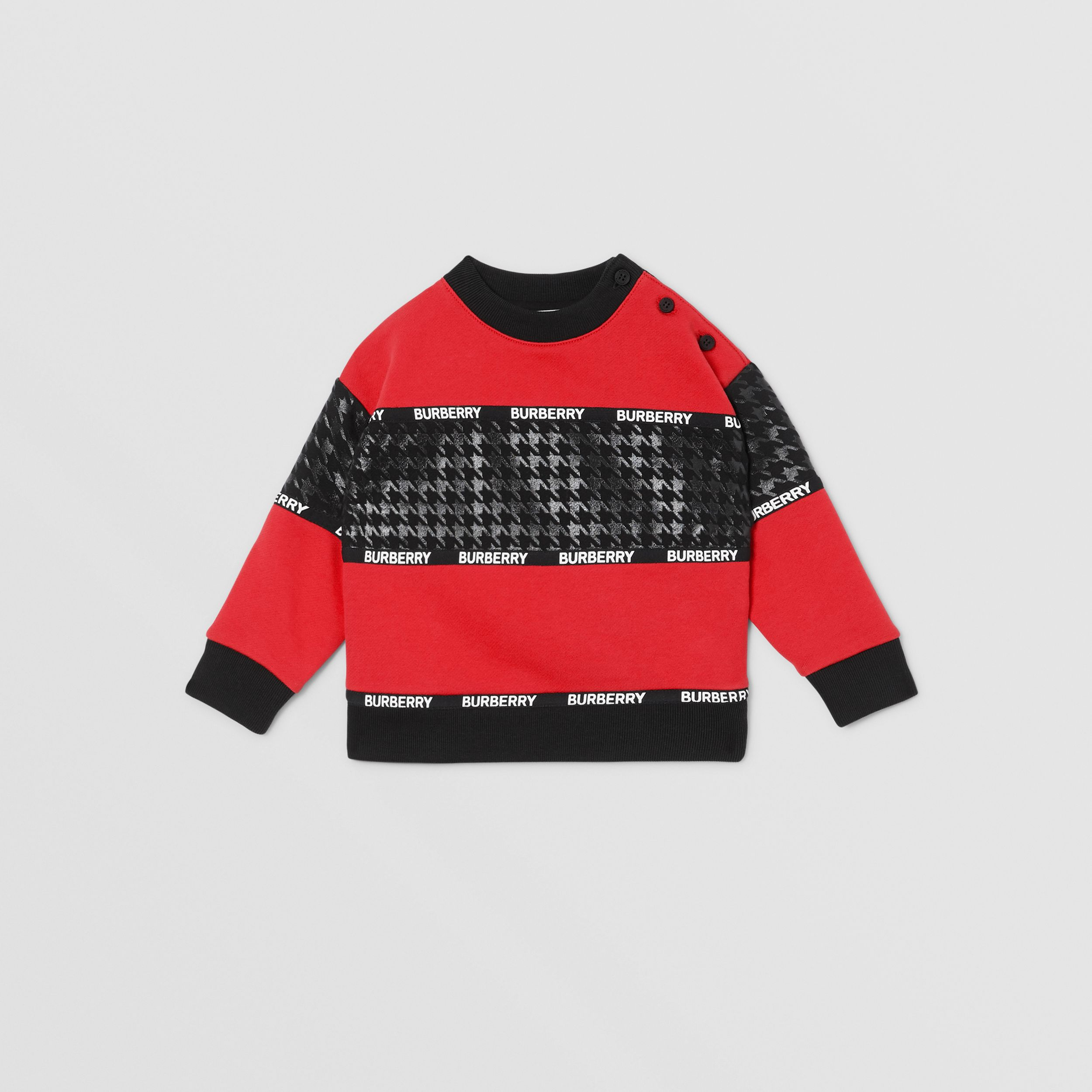 Houndstooth Check Panel Cotton Sweatshirt in Bright Red - Children | Burberry - 1