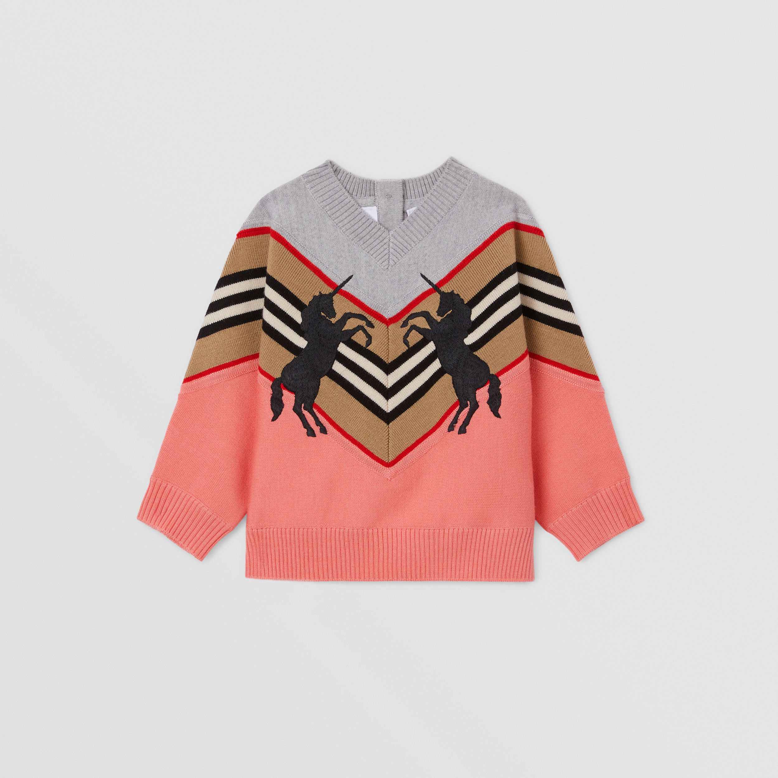 Unicorn Embroidered Technical Wool Sweater in Peach - Children | Burberry - 1