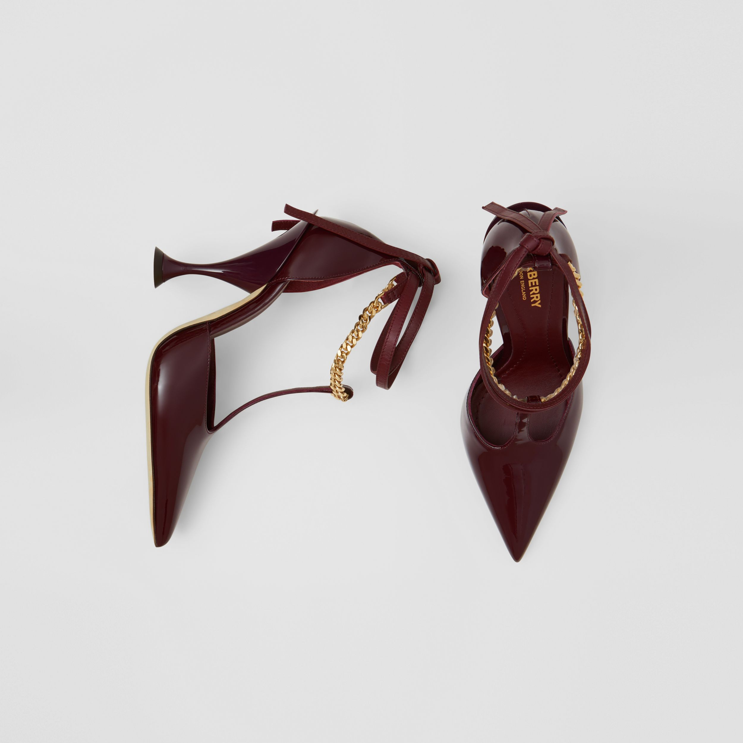Chain Detail Patent Leather Pumps in Oxblood - Women | Burberry - 1