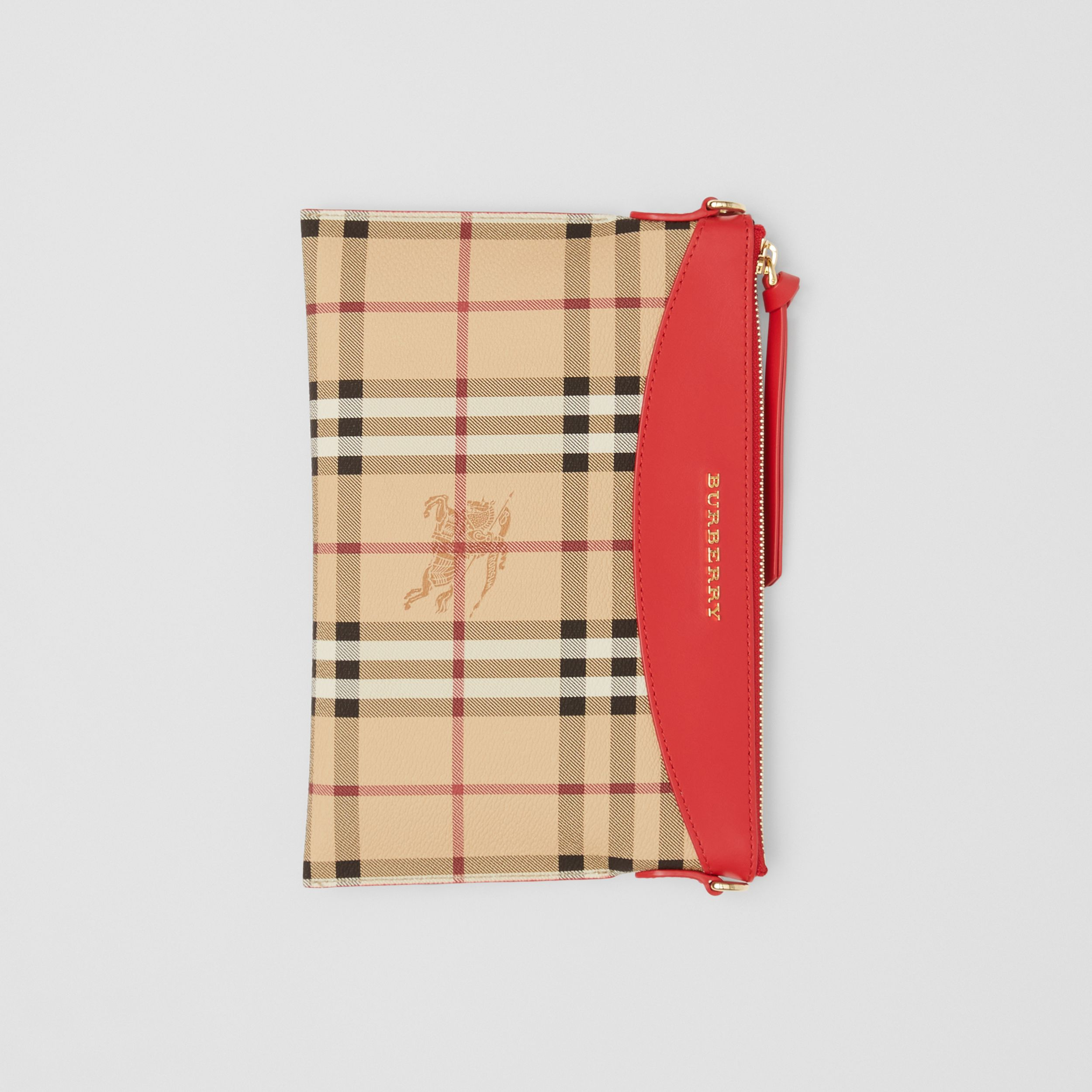 Haymarket Check E-canvas and Leather Clutch in Bright Red - Women | Burberry - 3