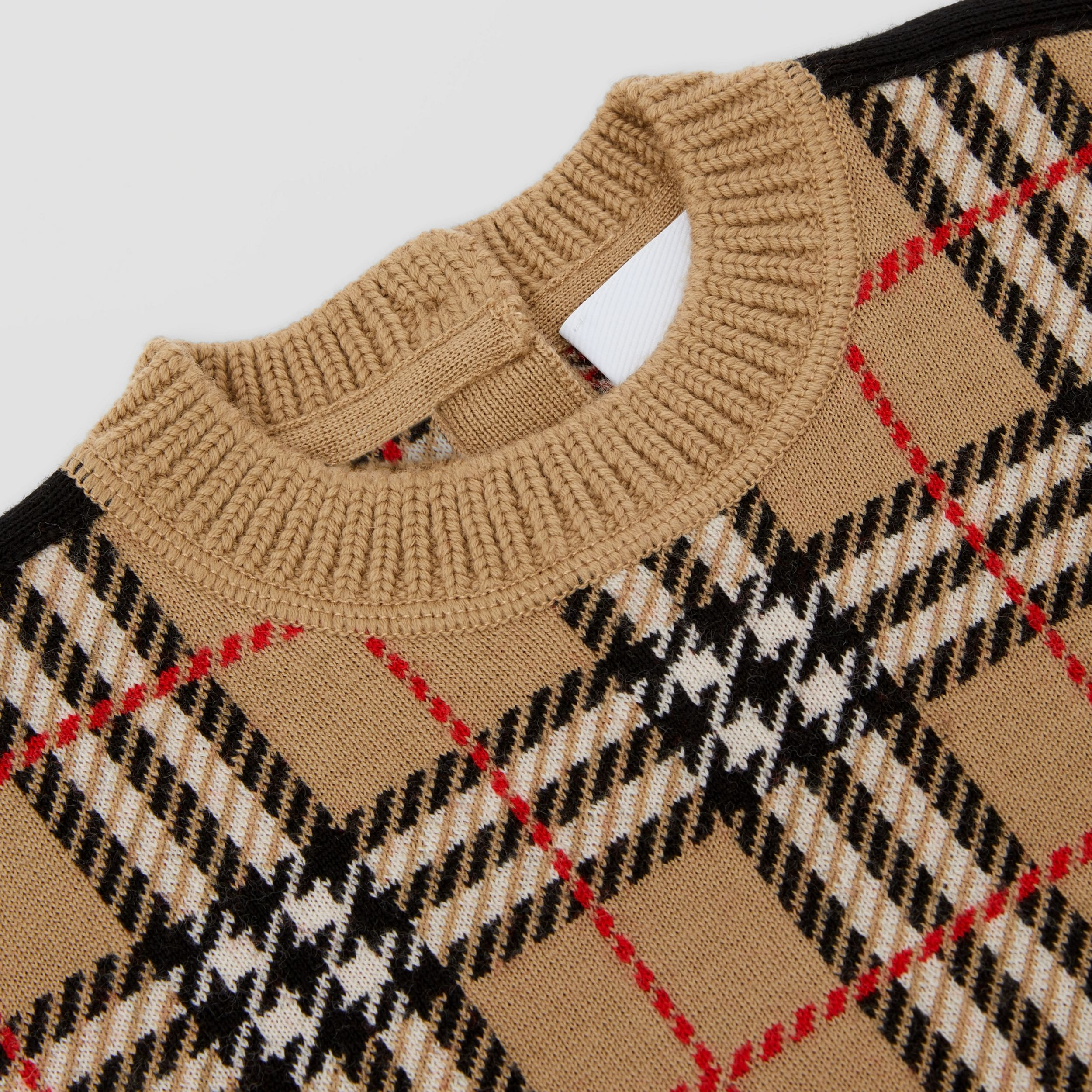 Check Merino Wool Jacquard Sweater in Archive Beige - Children | Burberry - 2