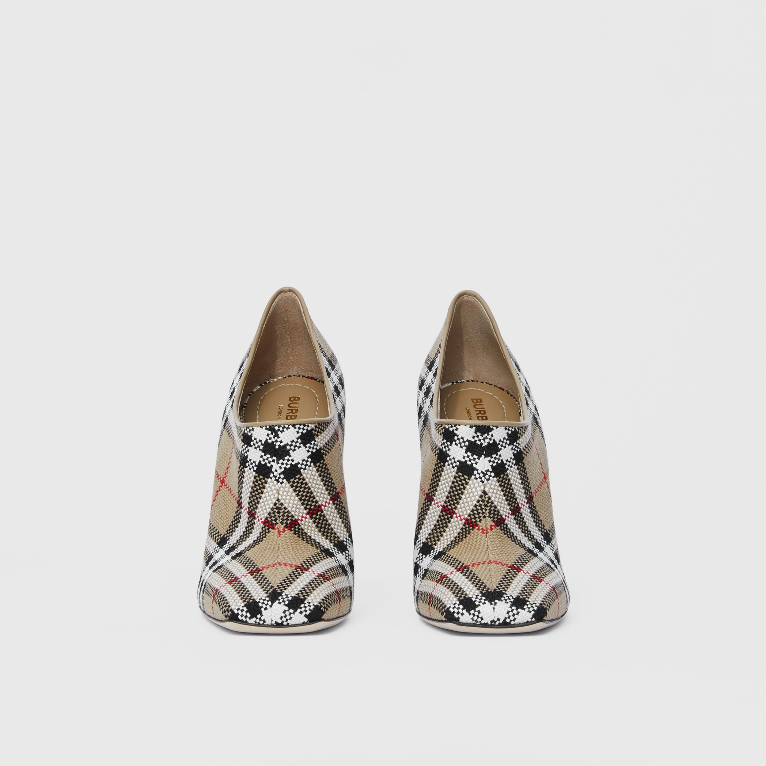 Latticed Cotton Square-toe Pumps in Archive Beige - Women | Burberry - 3