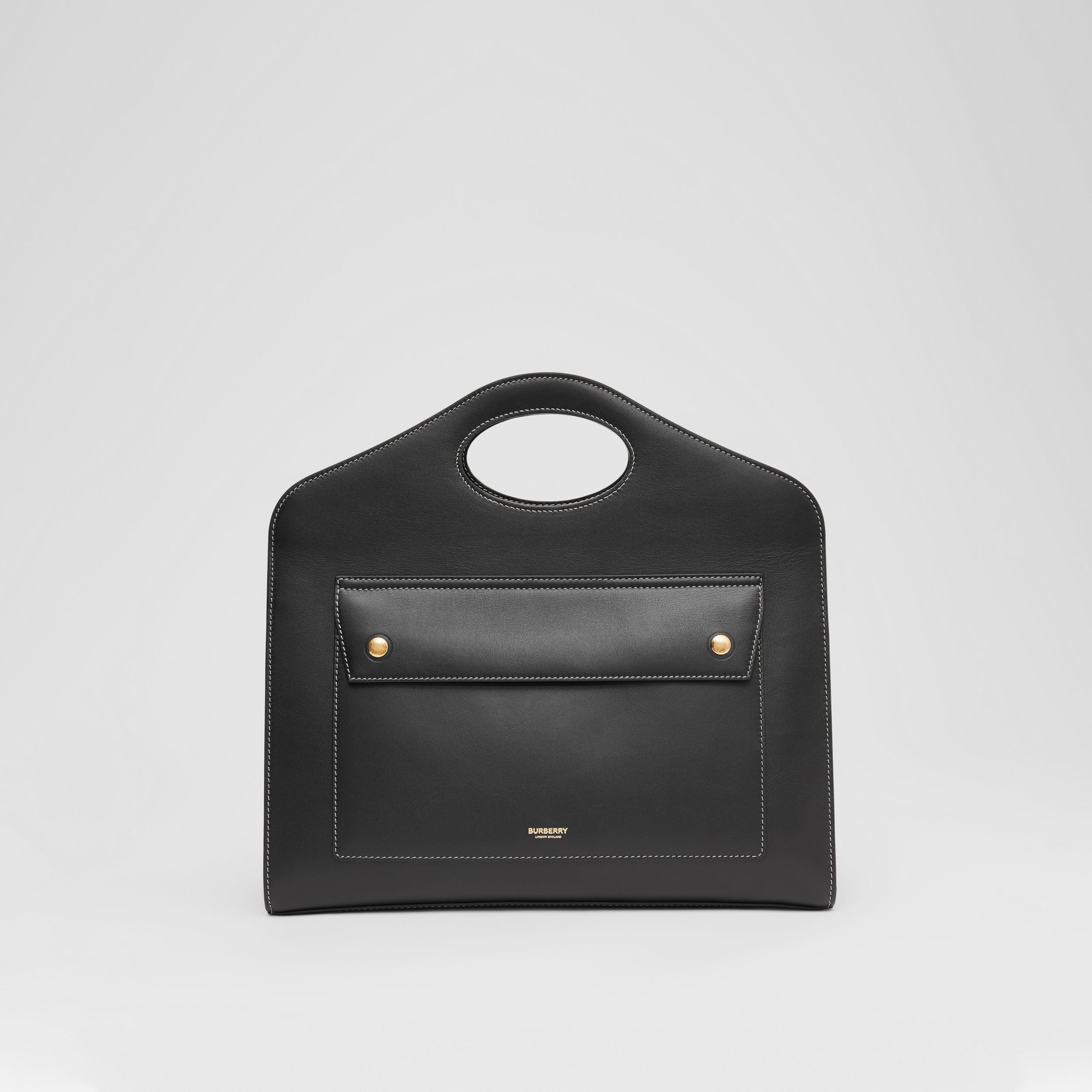 Medium Topstitched Leather Pocket Tote in Black - Women | Burberry Canada - 1
