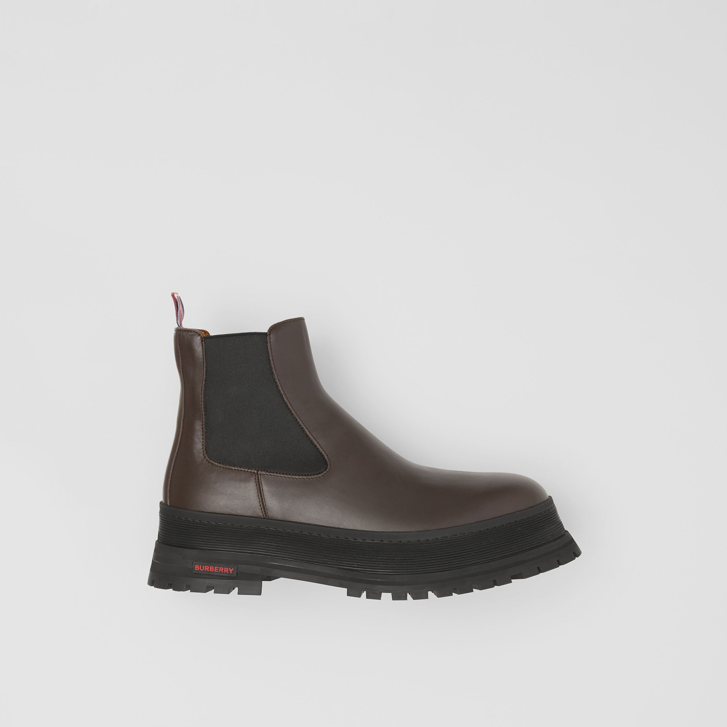 Logo Detail Leather Chelsea Boots in Dark Chocolate - Men | Burberry Singapore - 1