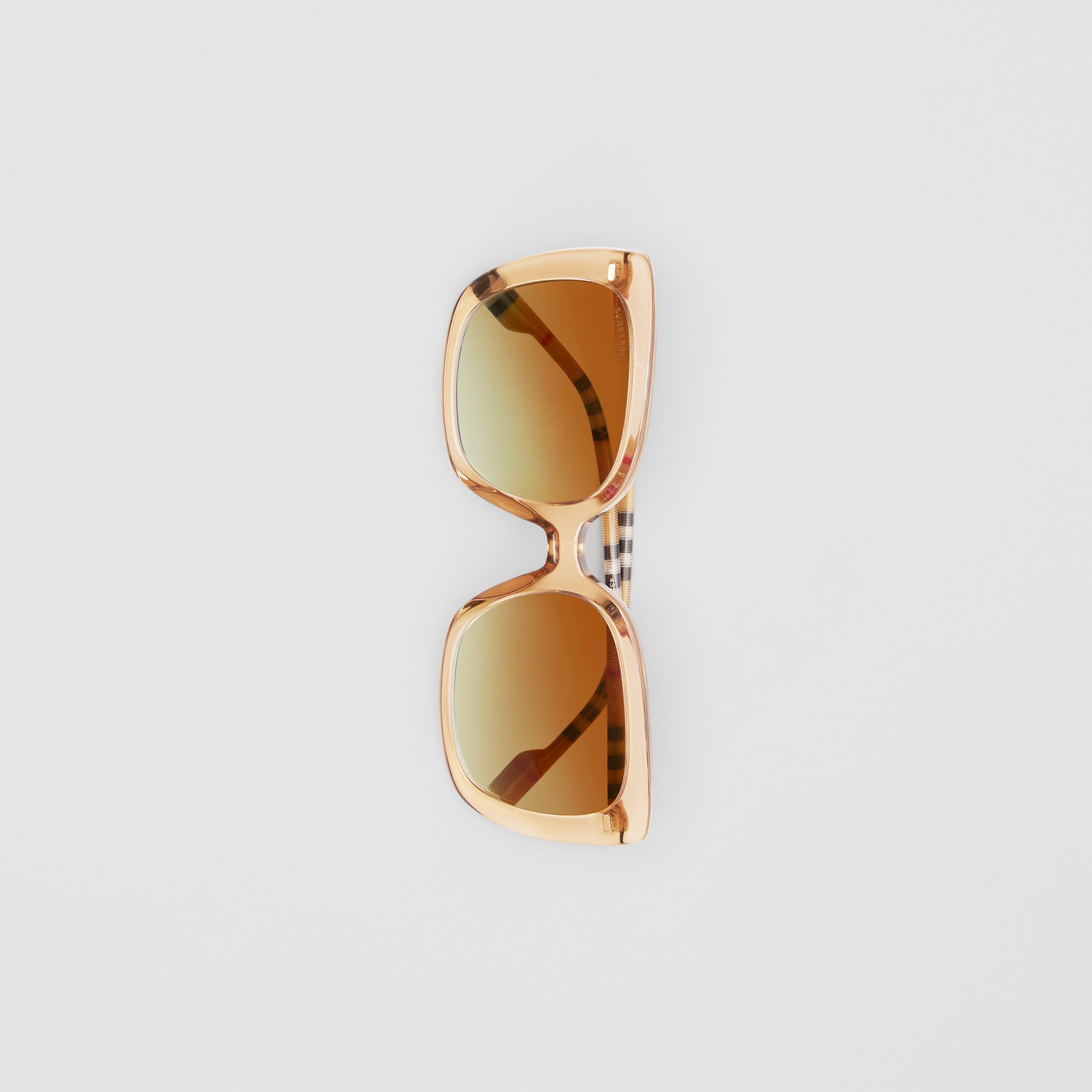 Oversized Square Frame Sunglasses in Peach - Women | Burberry - 4