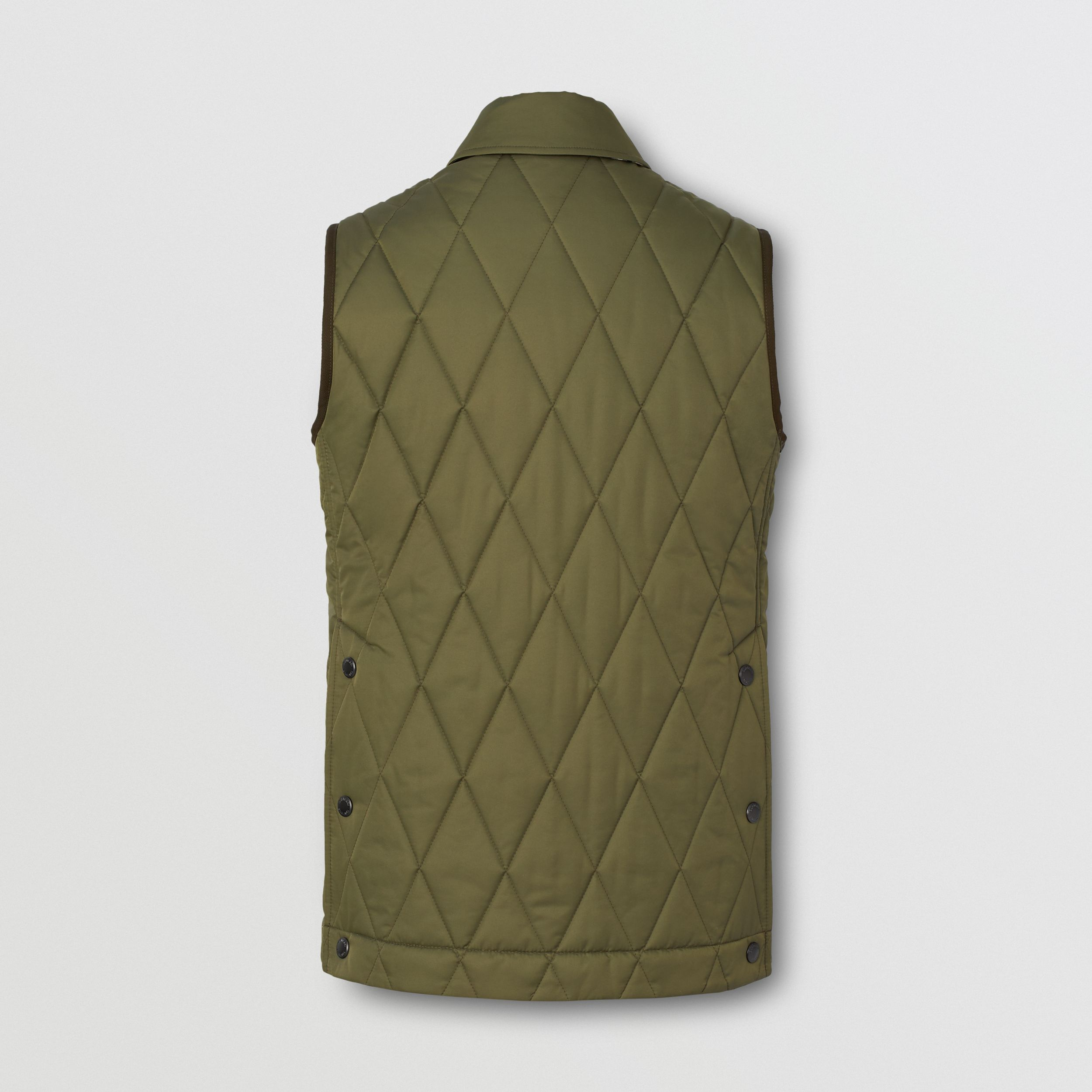 Diamond Quilted Thermoregulated Gilet in Olive Green - Women | Burberry - 2