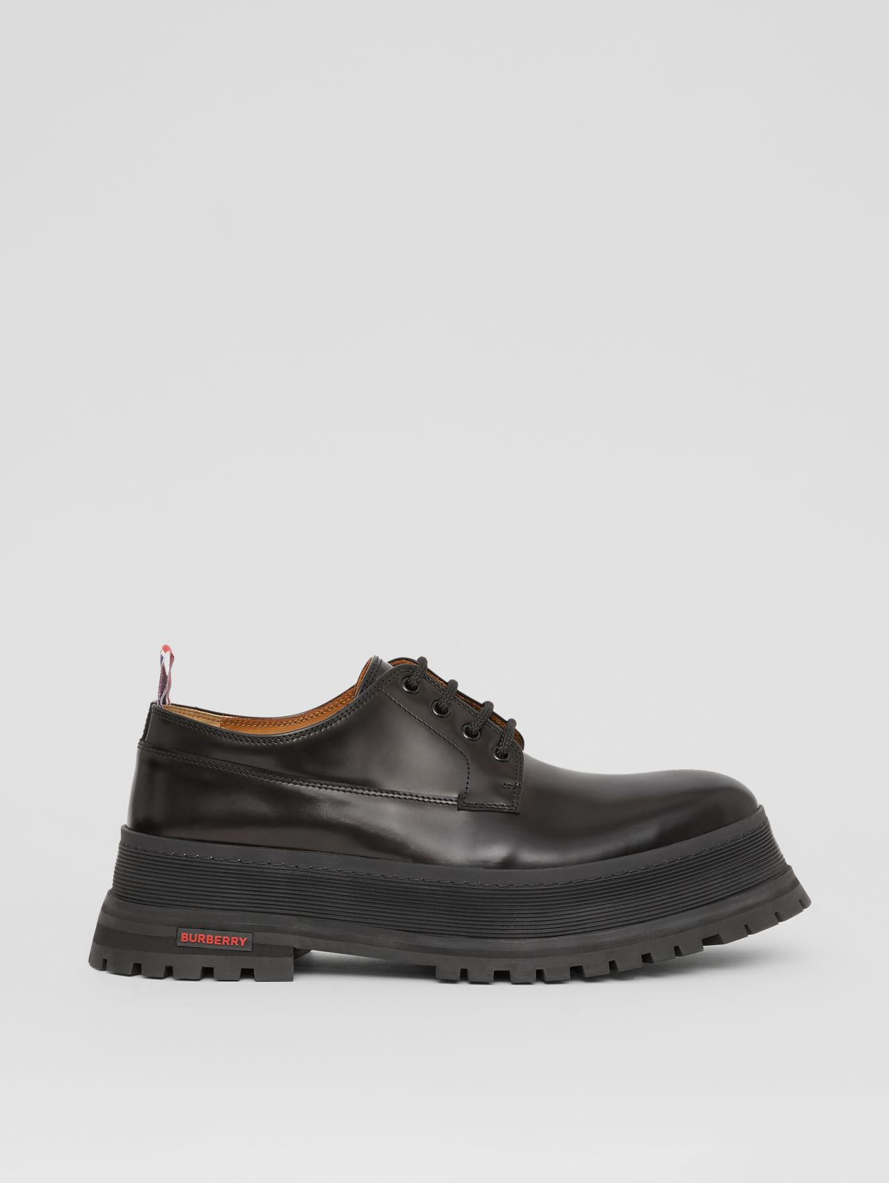 Logo Detail Leather Derby Shoes in Black