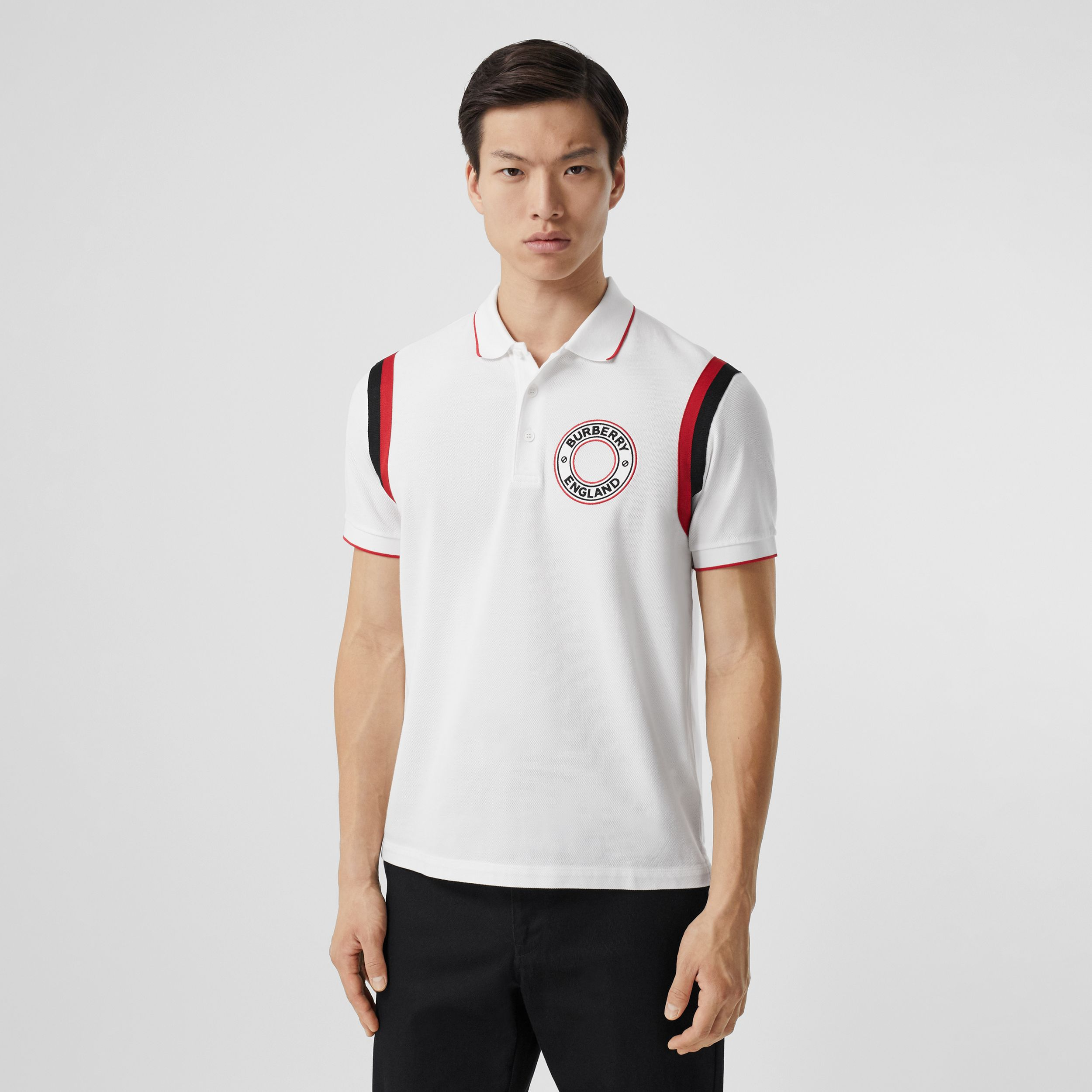 Logo Graphic Appliqué Cotton Piqué Polo Shirt in White - Men | Burberry - 1
