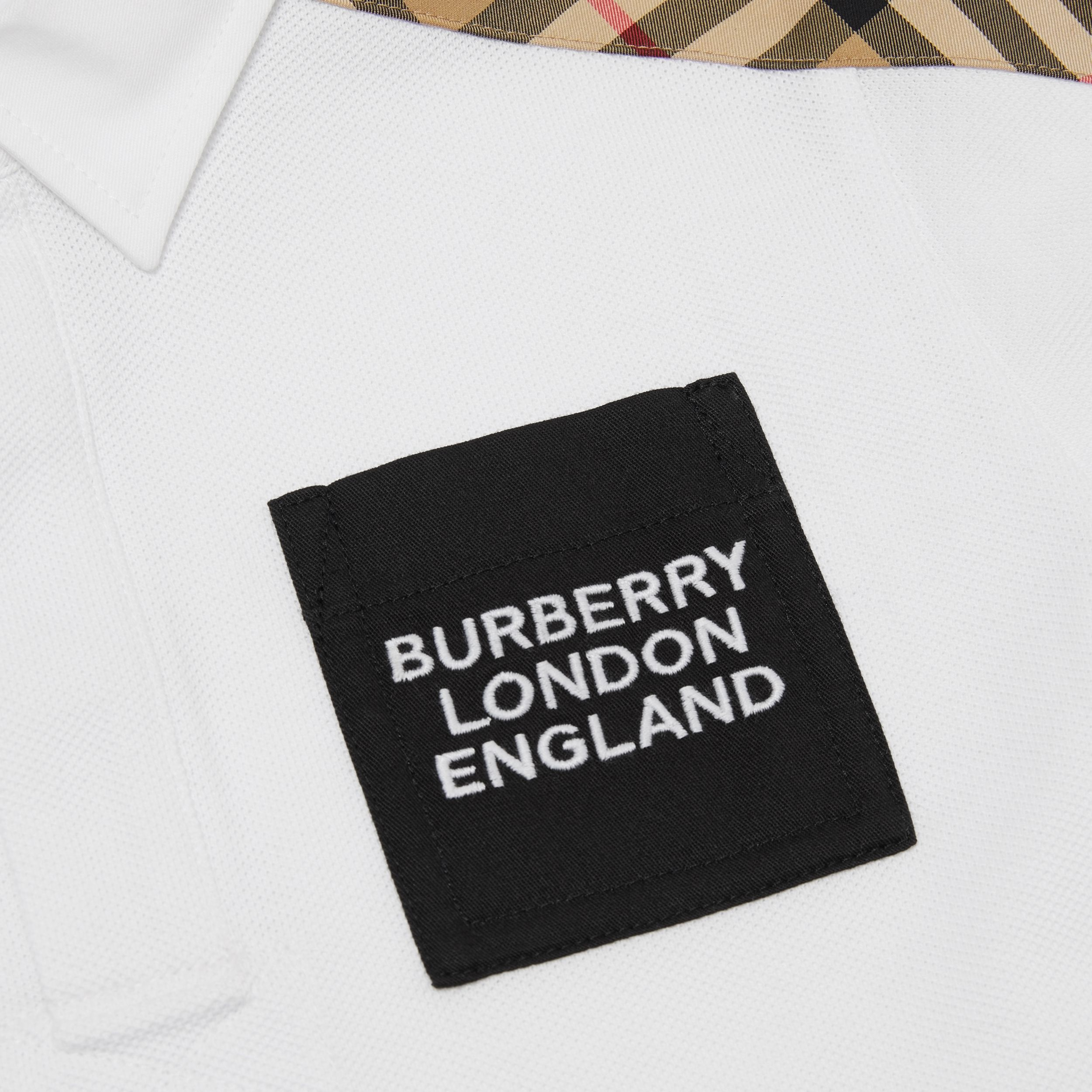 Vintage Check Panel Cotton Piqué Polo Shirt in White - Children | Burberry - 2