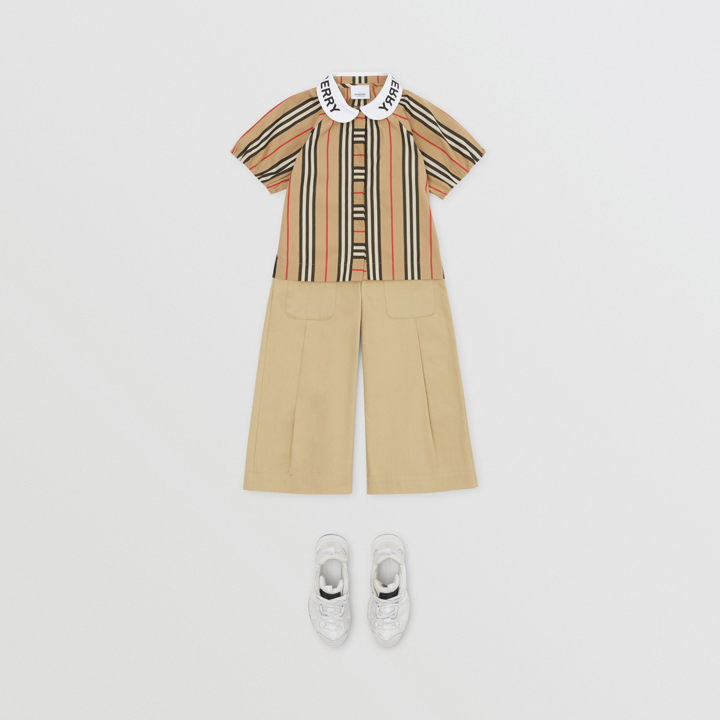 Logo Print Puff-sleeve Icon Stripe Cotton Blouse | Burberry Singapore - 3