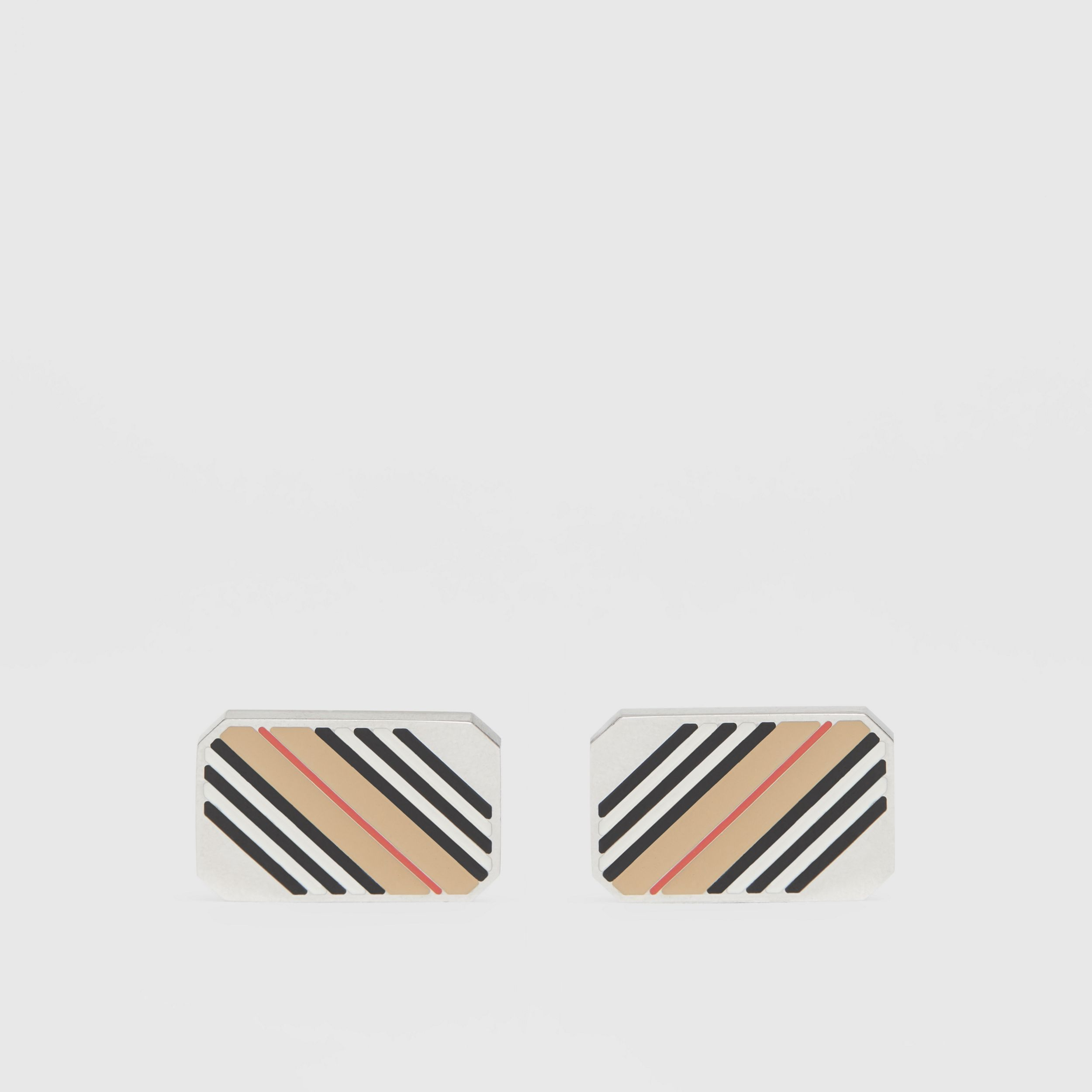 Icon Stripe Palladium-plated Cufflinks - Men | Burberry - 1