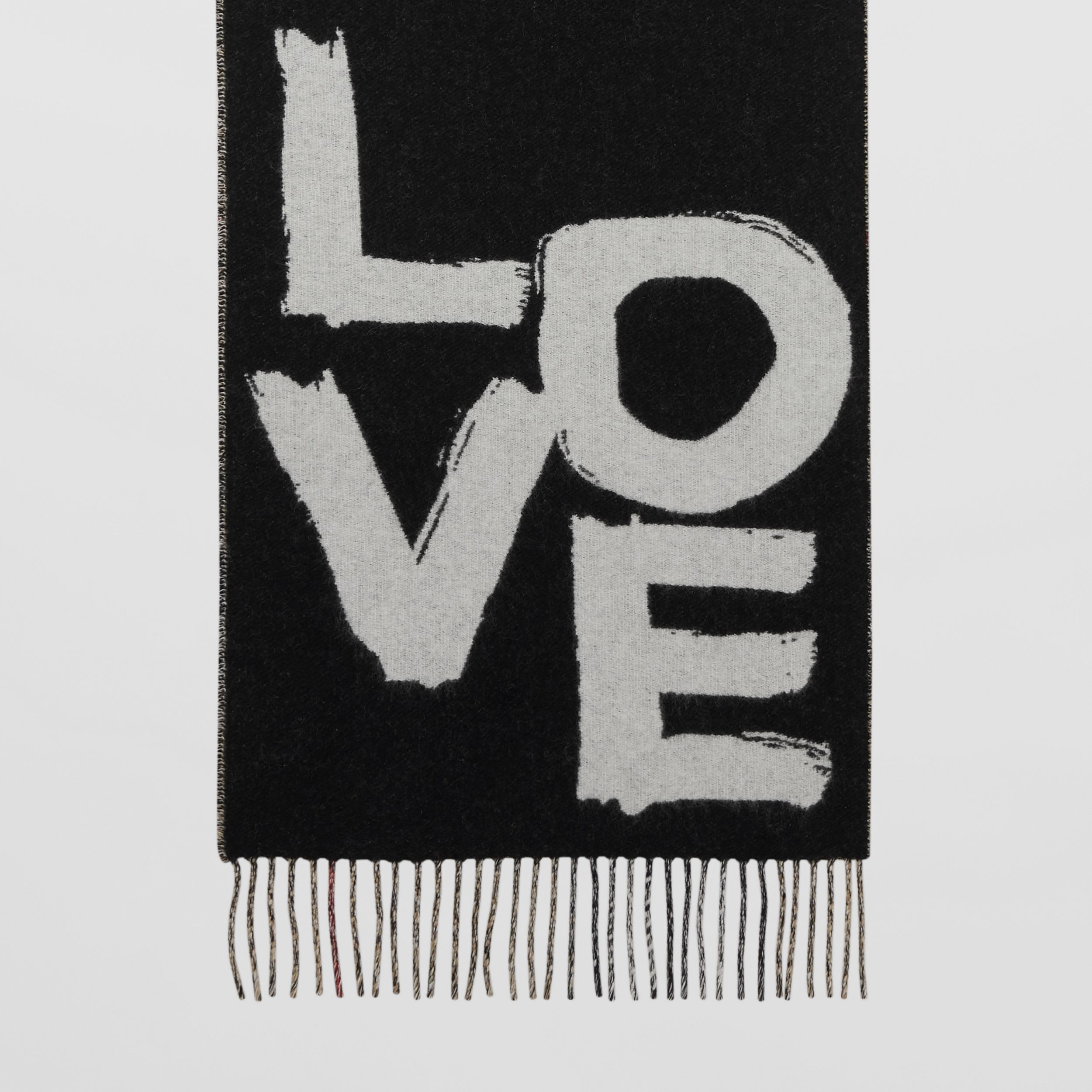 Love and Check Cashmere Jacquard Scarf in Black | Burberry - 4