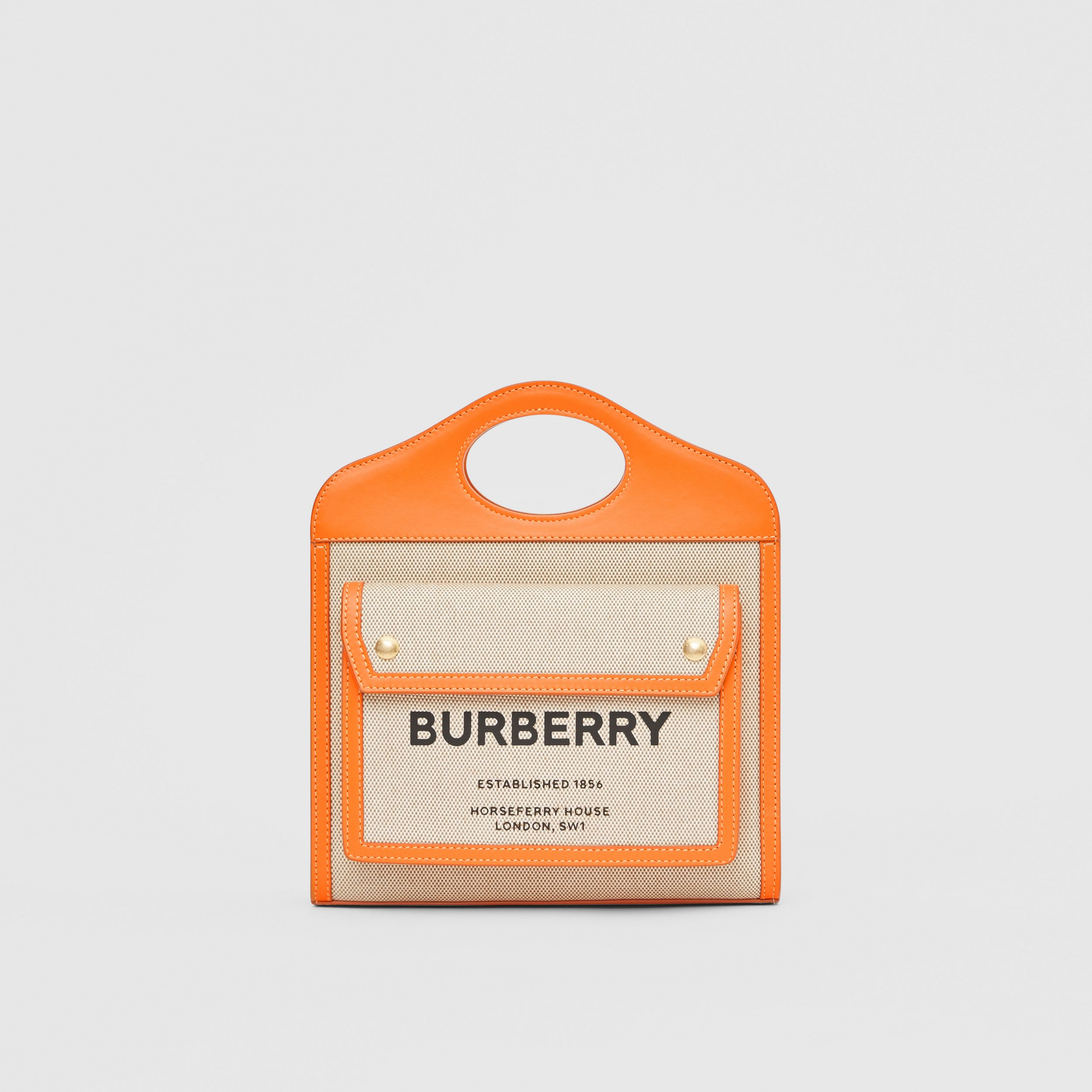 Mini Two-tone Canvas and Leather Pocket Bag in Orange - Women | Burberry - 1