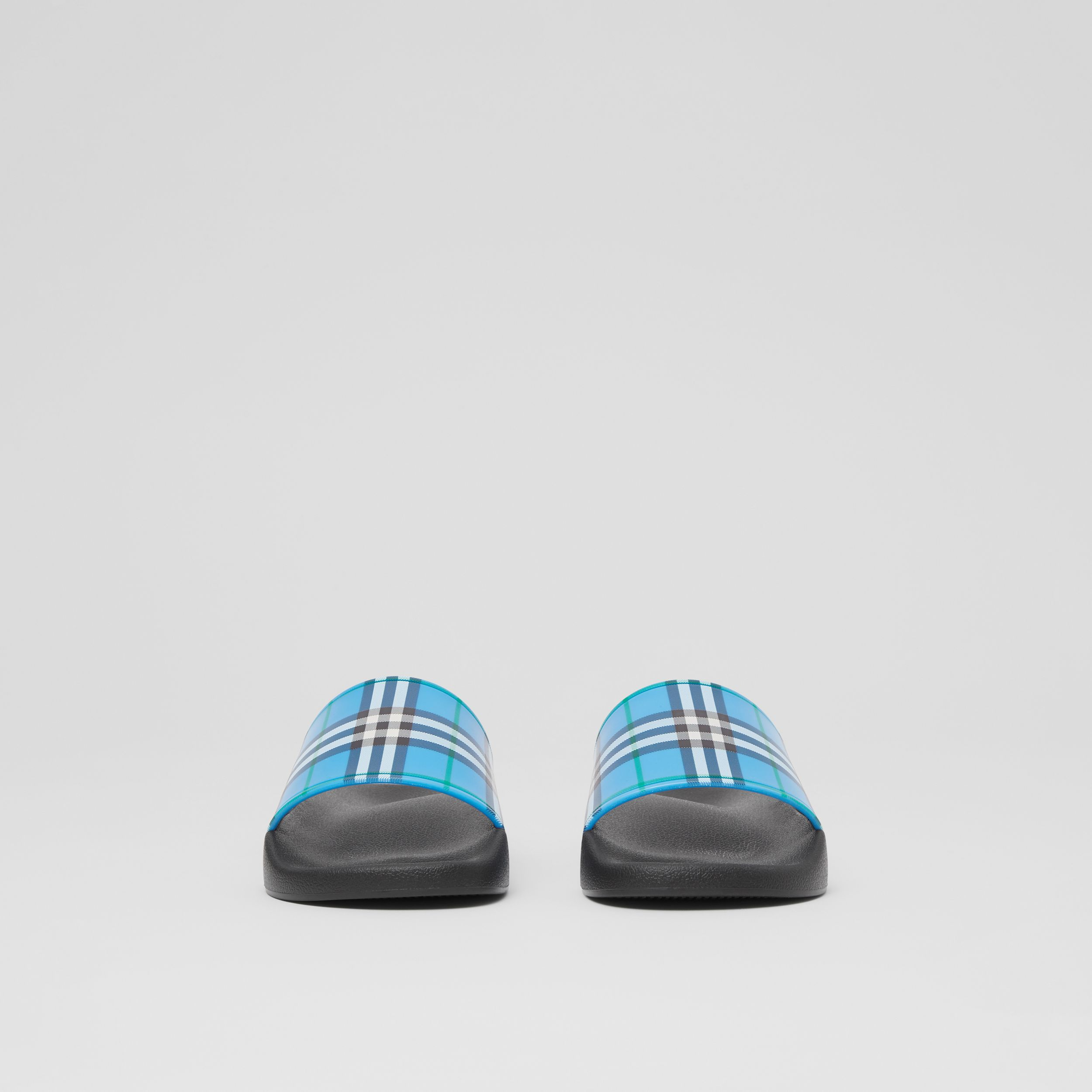 Check Print Slides in Blue Azure - Women | Burberry - 3