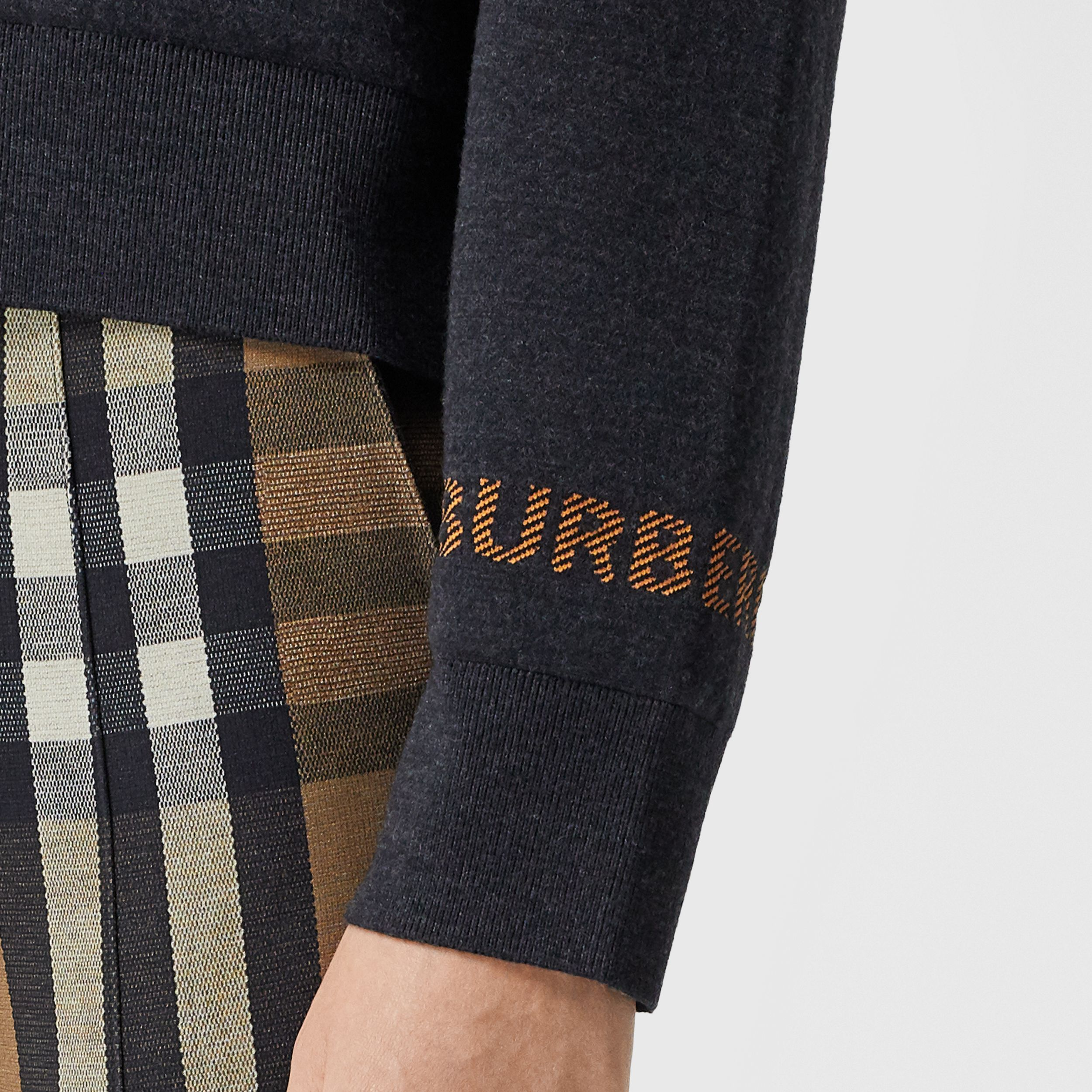 Logo Technical Merino Wool Jacquard Sweater in Charcoal Melange - Women | Burberry - 2