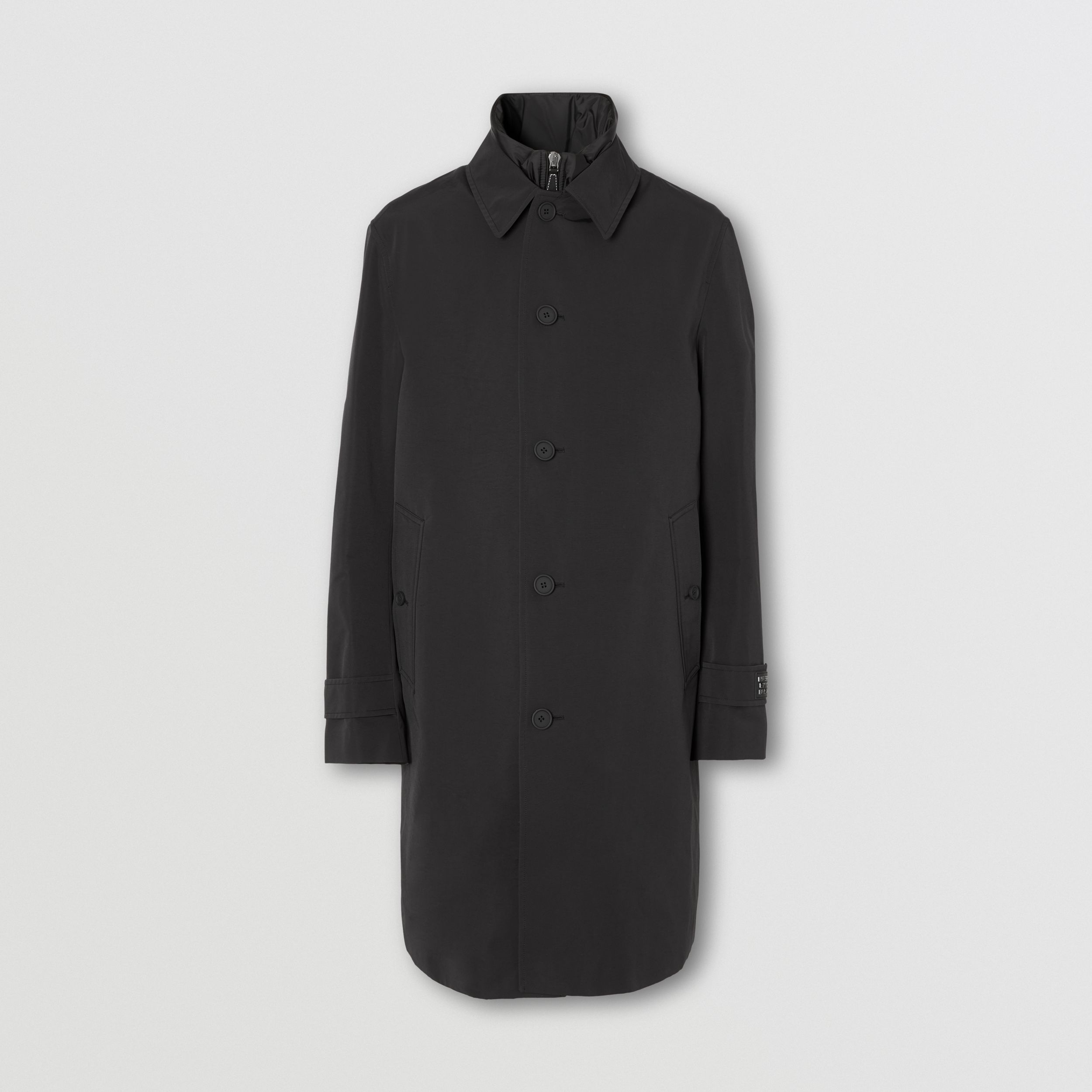 Technical Cotton Car Coat with Detachable Warmer in Black - Men | Burberry - 4