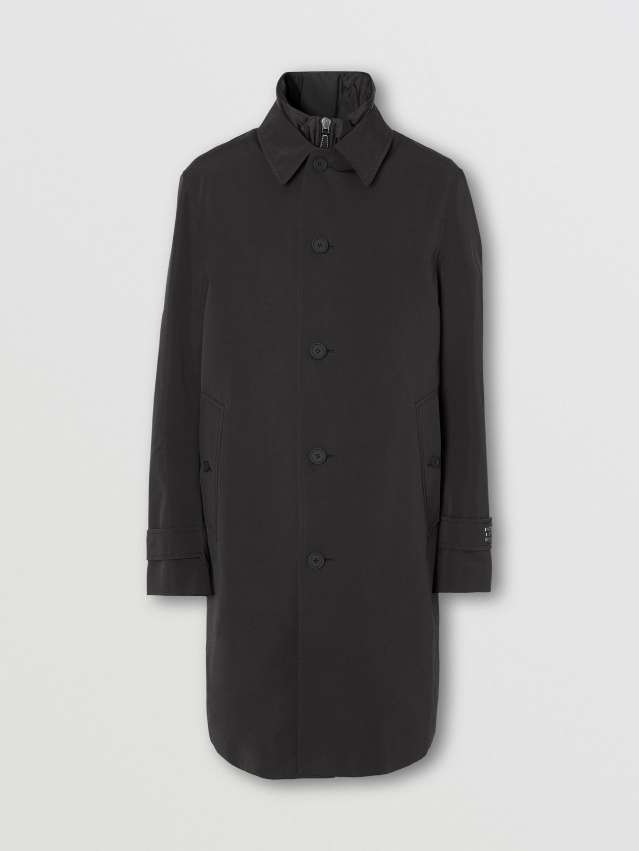 Technical Cotton Car Coat with Detachable Warmer in Black