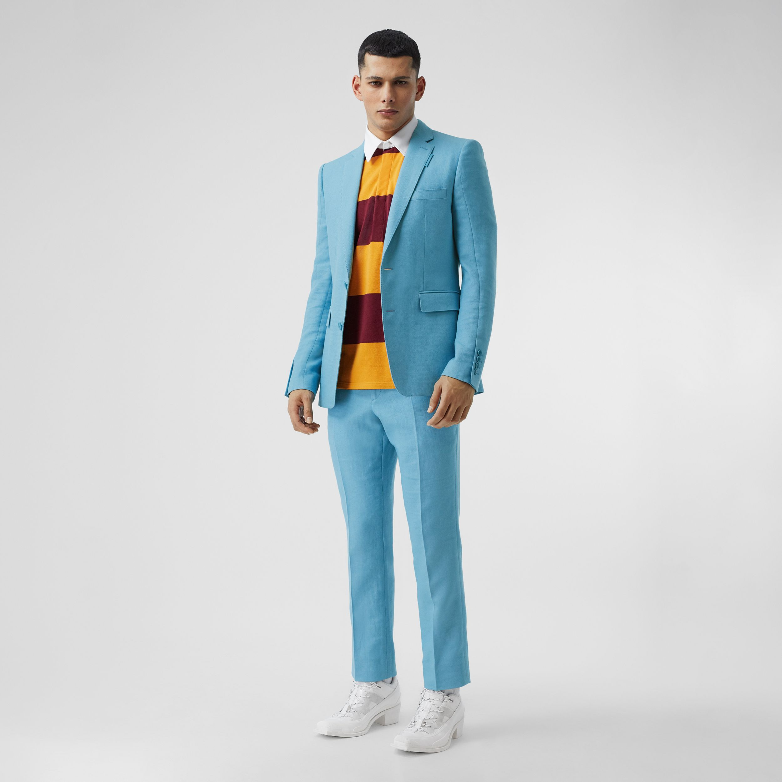 Wool Ramie Tailored Trousers in Blue Topaz - Men | Burberry - 1