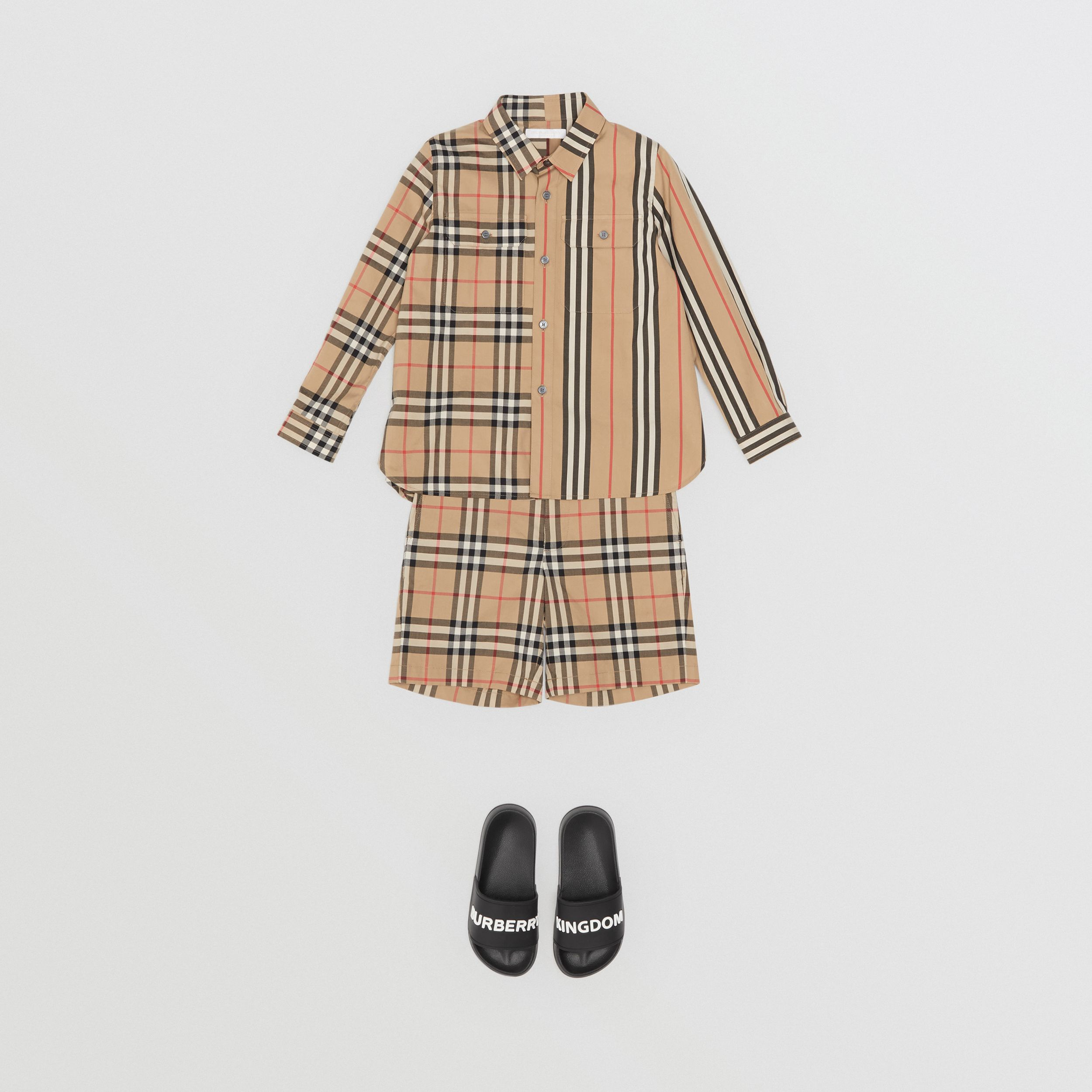 Vintage Check Cotton Tailored Shorts in Archive Beige | Burberry - 3