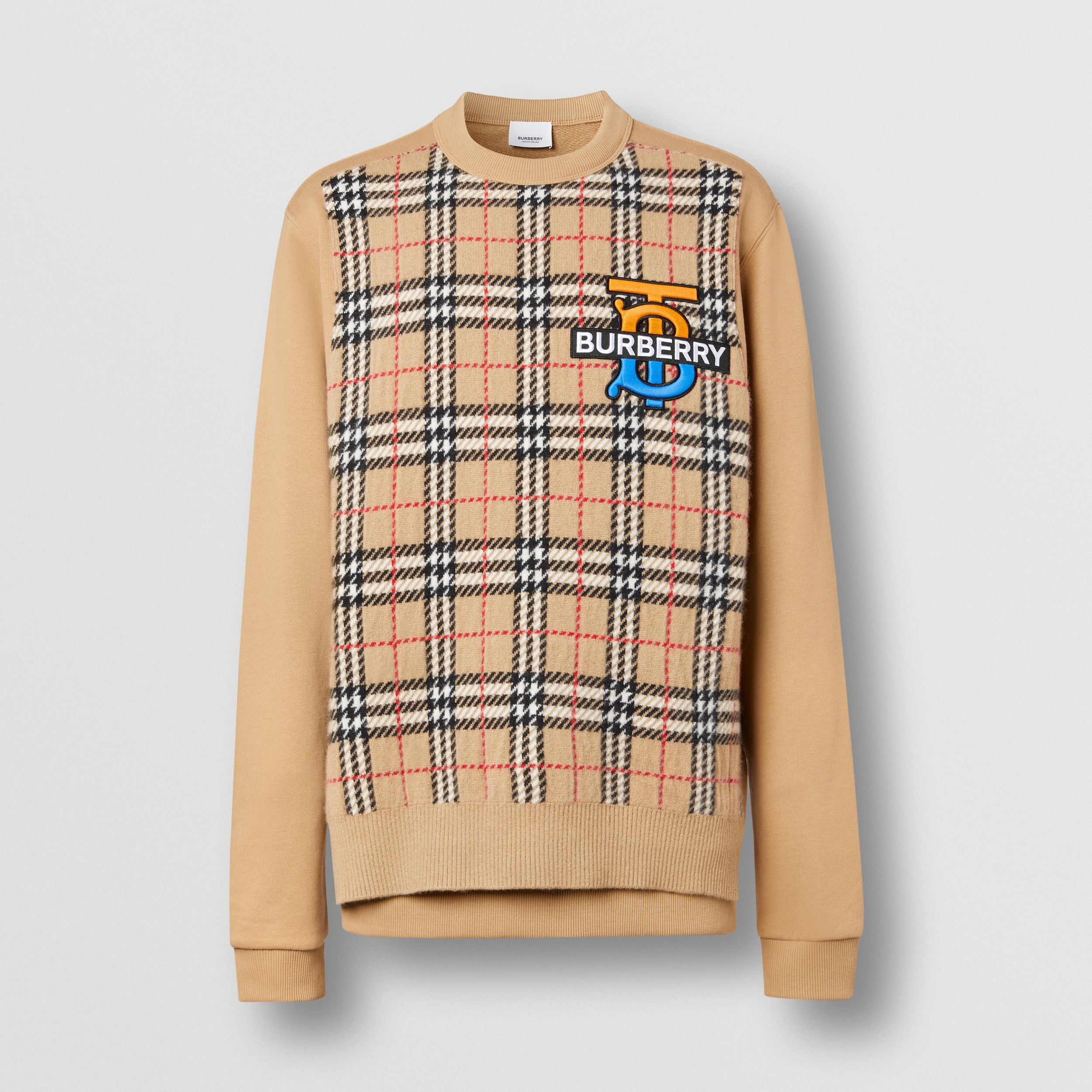Monogram Motif Check Cashmere Panel Sweatshirt in Archive Beige - Men | Burberry - 4