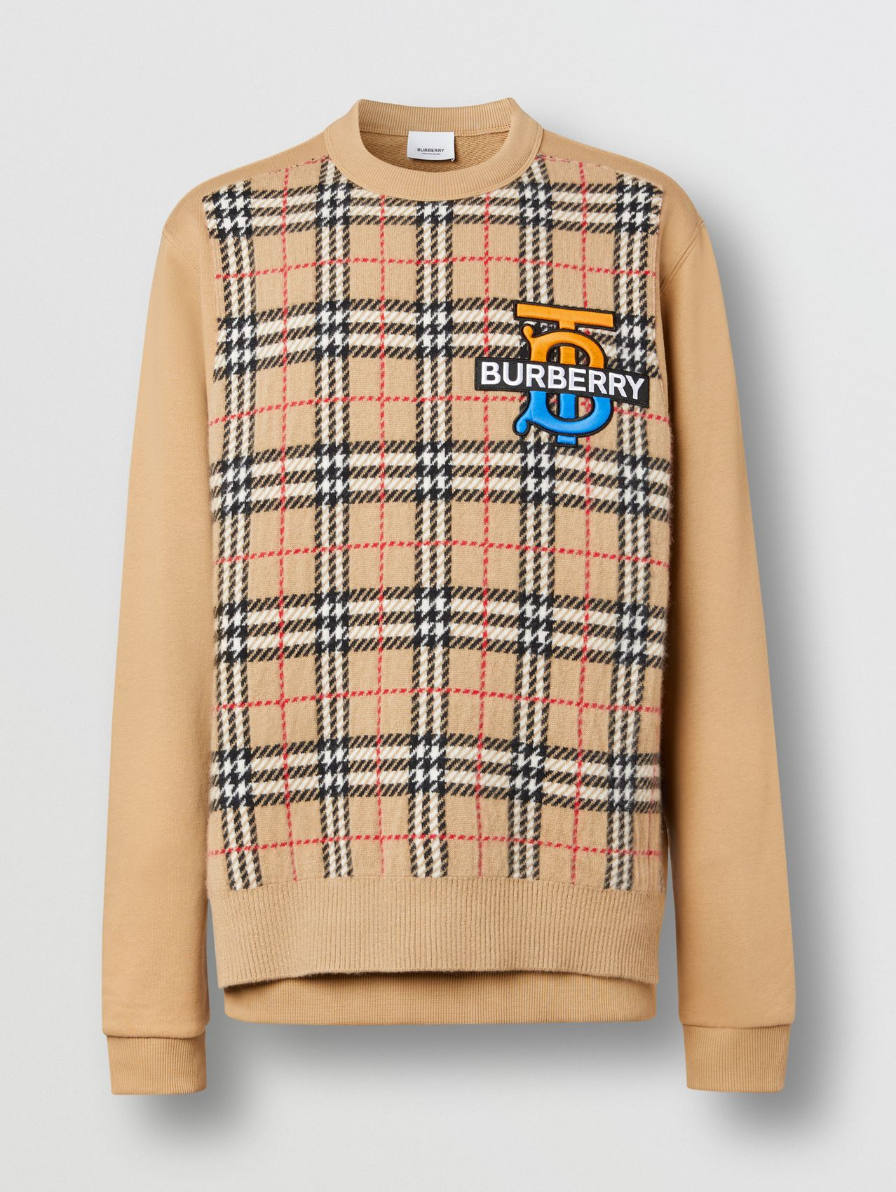 Monogram Motif Check Cashmere Panel Sweatshirt in Archive Beige