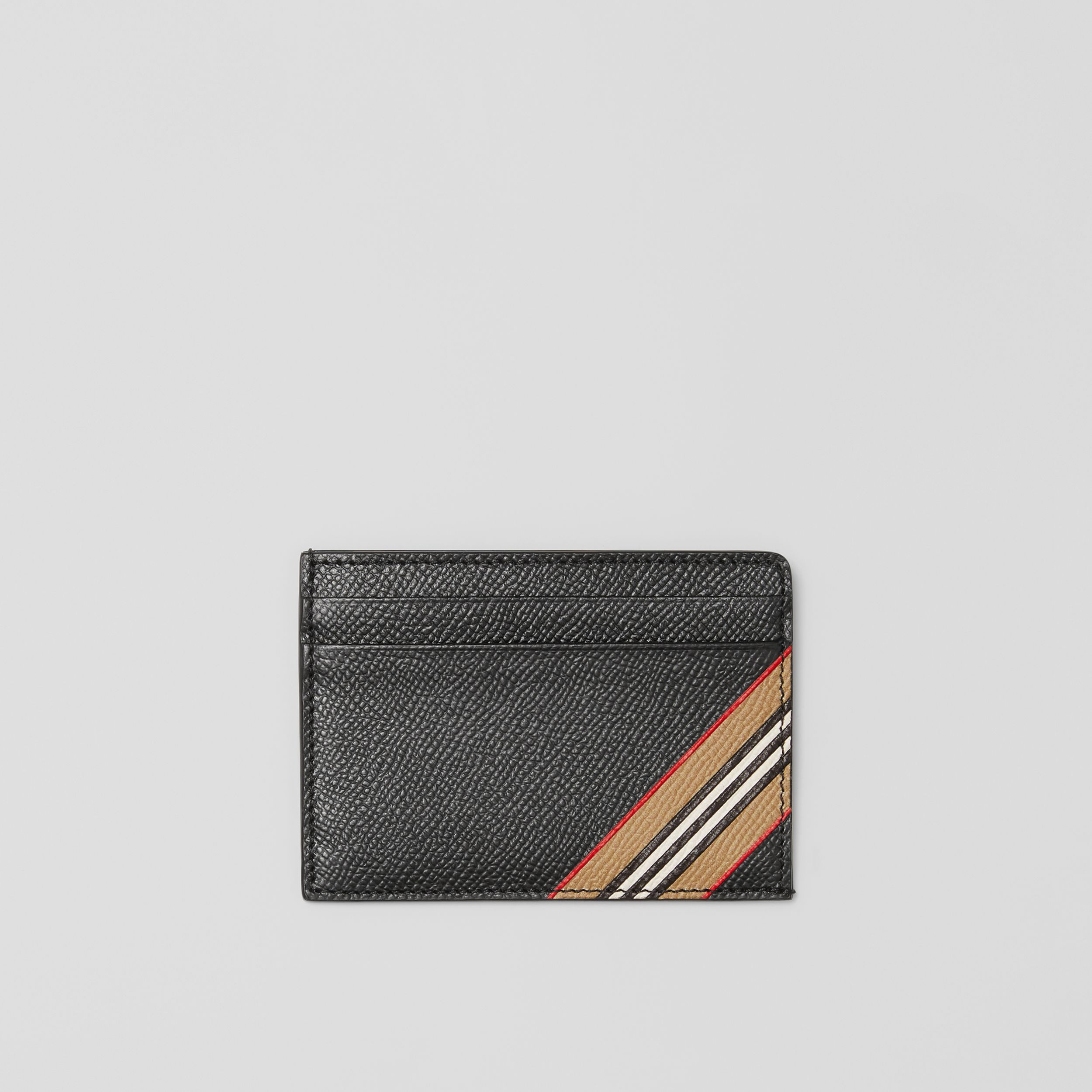 Icon Stripe Print Grainy Leather Card Case in Black - Men | Burberry - 1