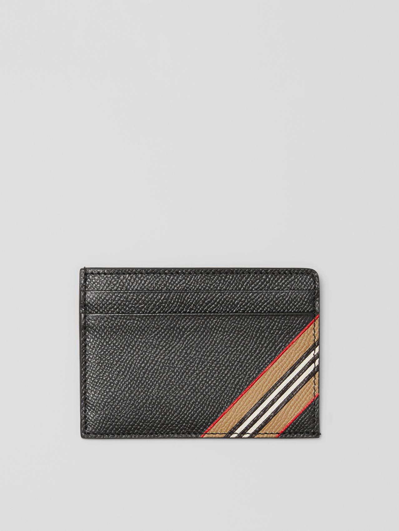 Icon Stripe Print Grainy Leather Card Case in Black