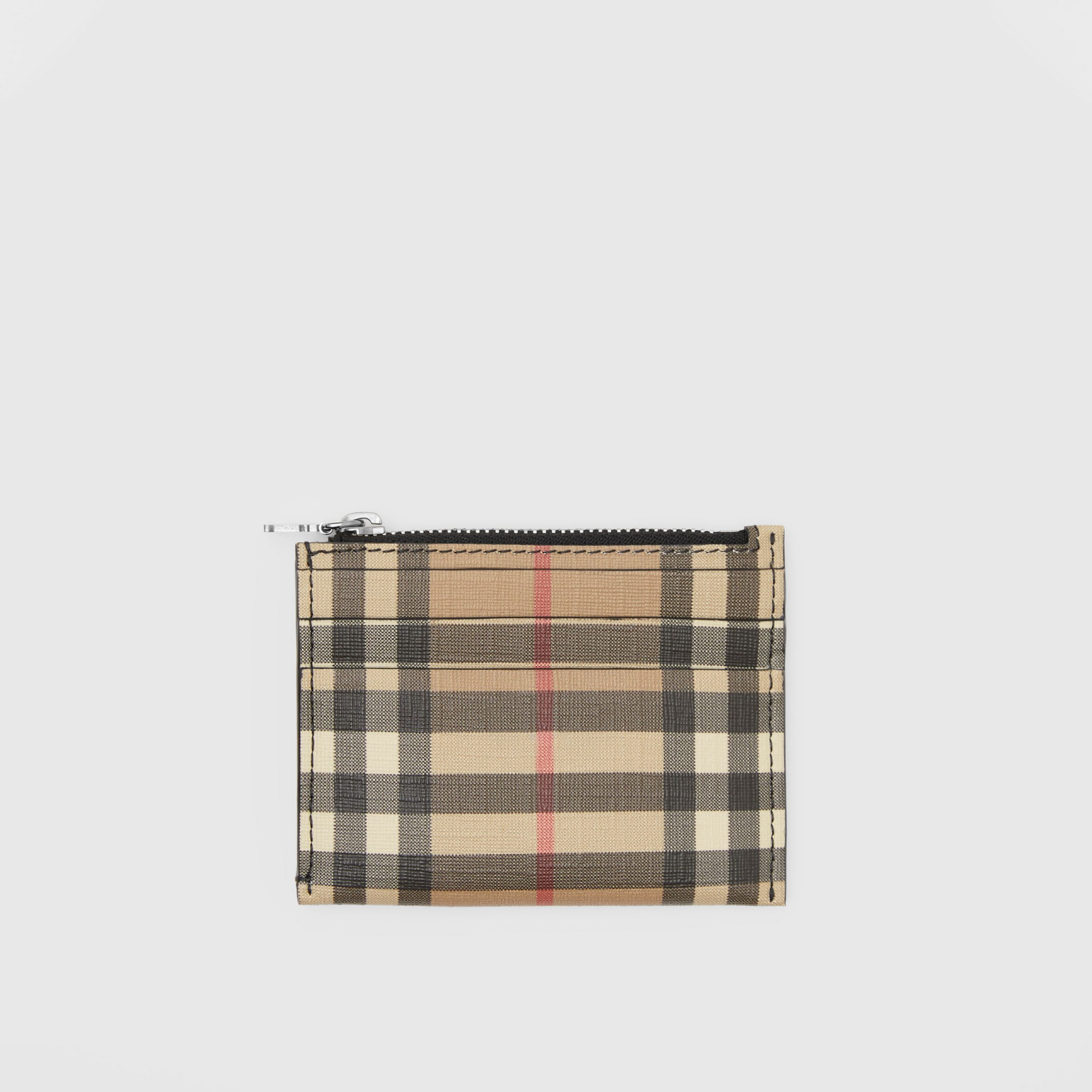 Vintage Check and Leather Zip Card Case in Black - Women | Burberry - 1