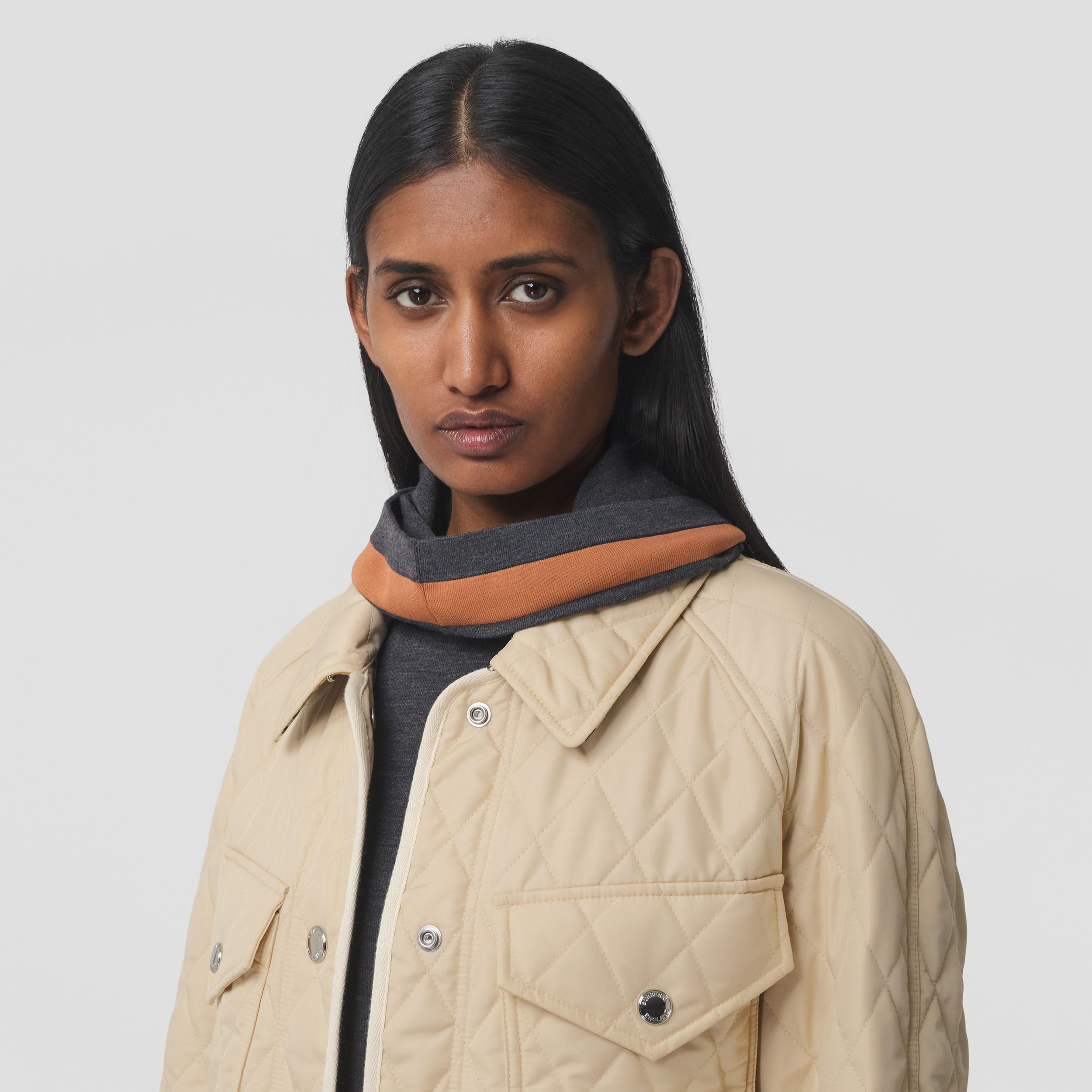 Diamond Quilted Nylon Canvas Field Jacket in Sesame - Women | Burberry - 2