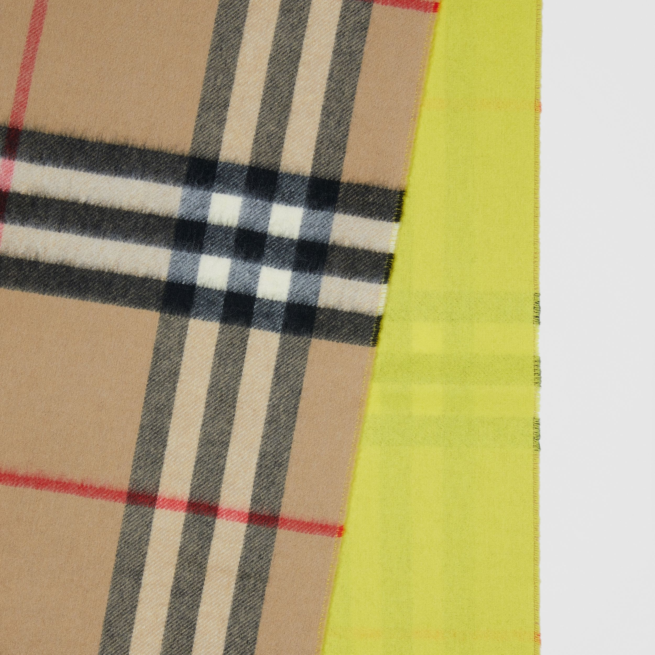 Reversible Check Cashmere Scarf in Yellow | Burberry - 2