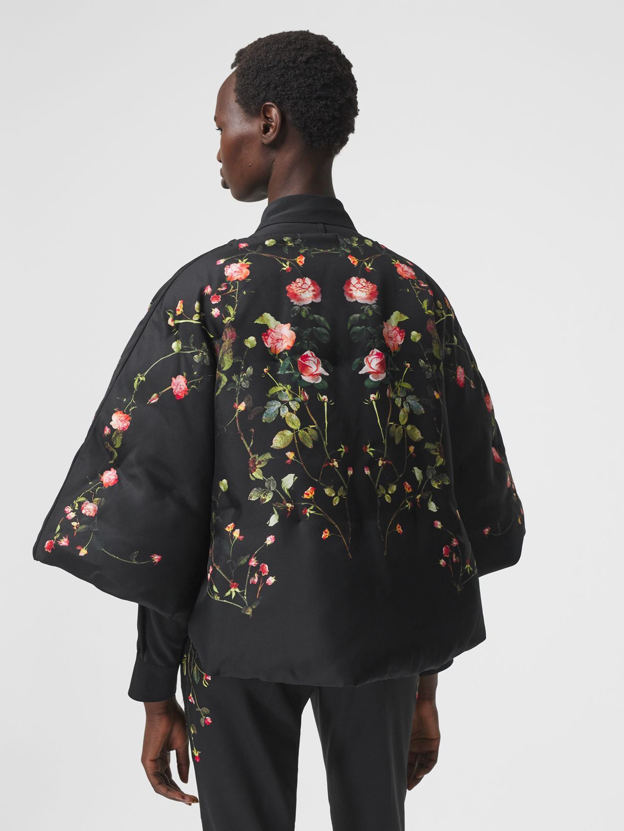 Rose Print Silk Cape in Black