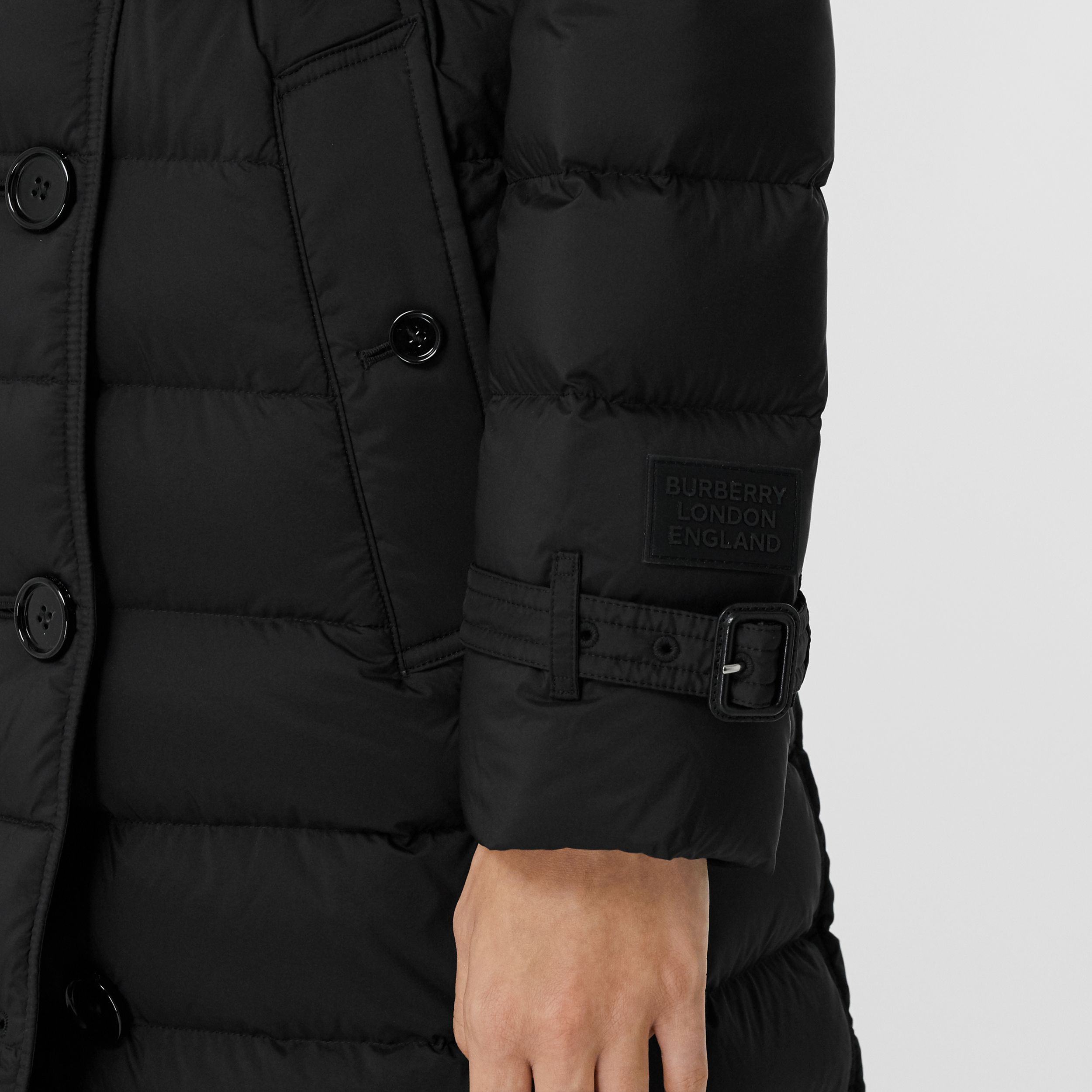 Logo Appliqué Detachable Hood Puffer Coat in Black - Women | Burberry - 4