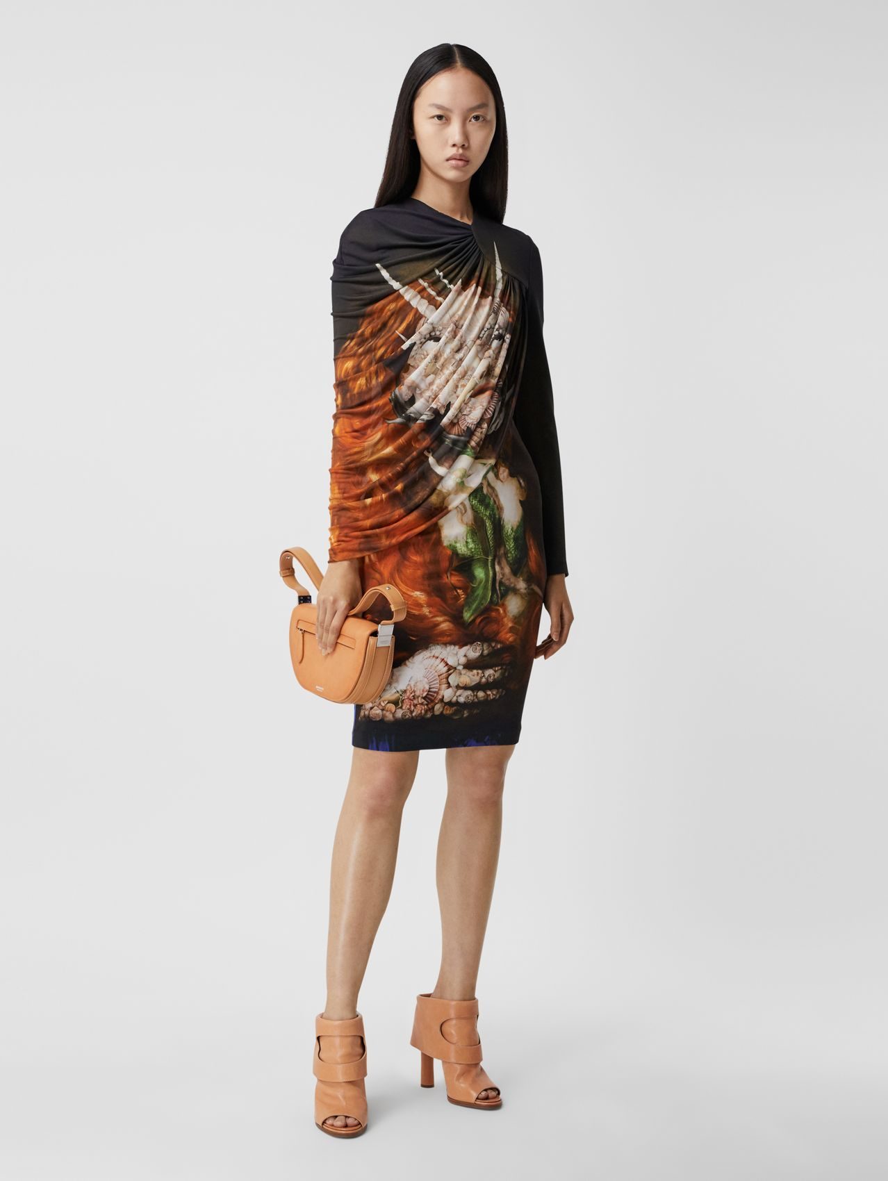 Cape Detail Sea Maiden Print Stretch Jersey Dress in Orange Saffron