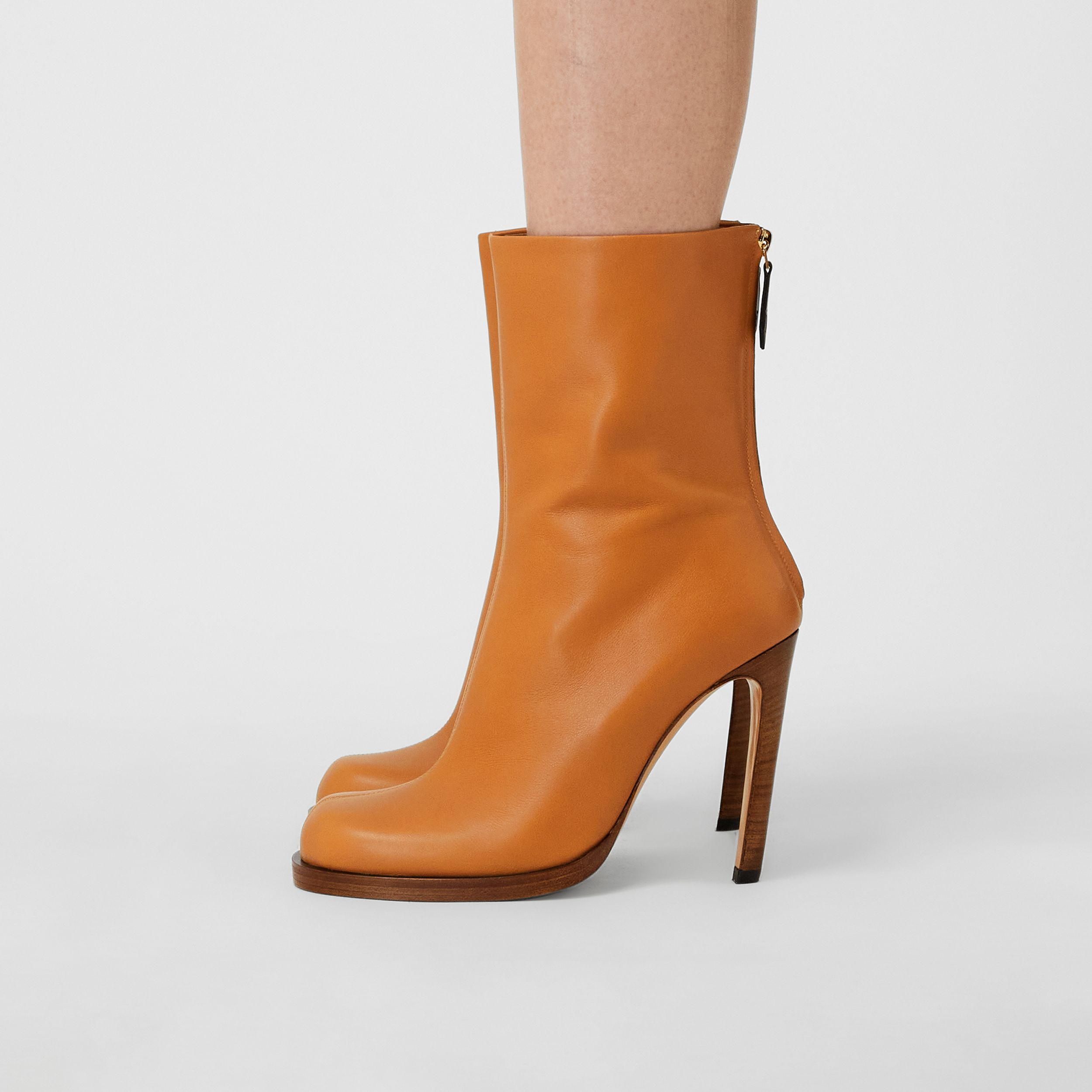 Vintage Check-lined Leather Ankle Boots in Ochre - Women | Burberry - 4