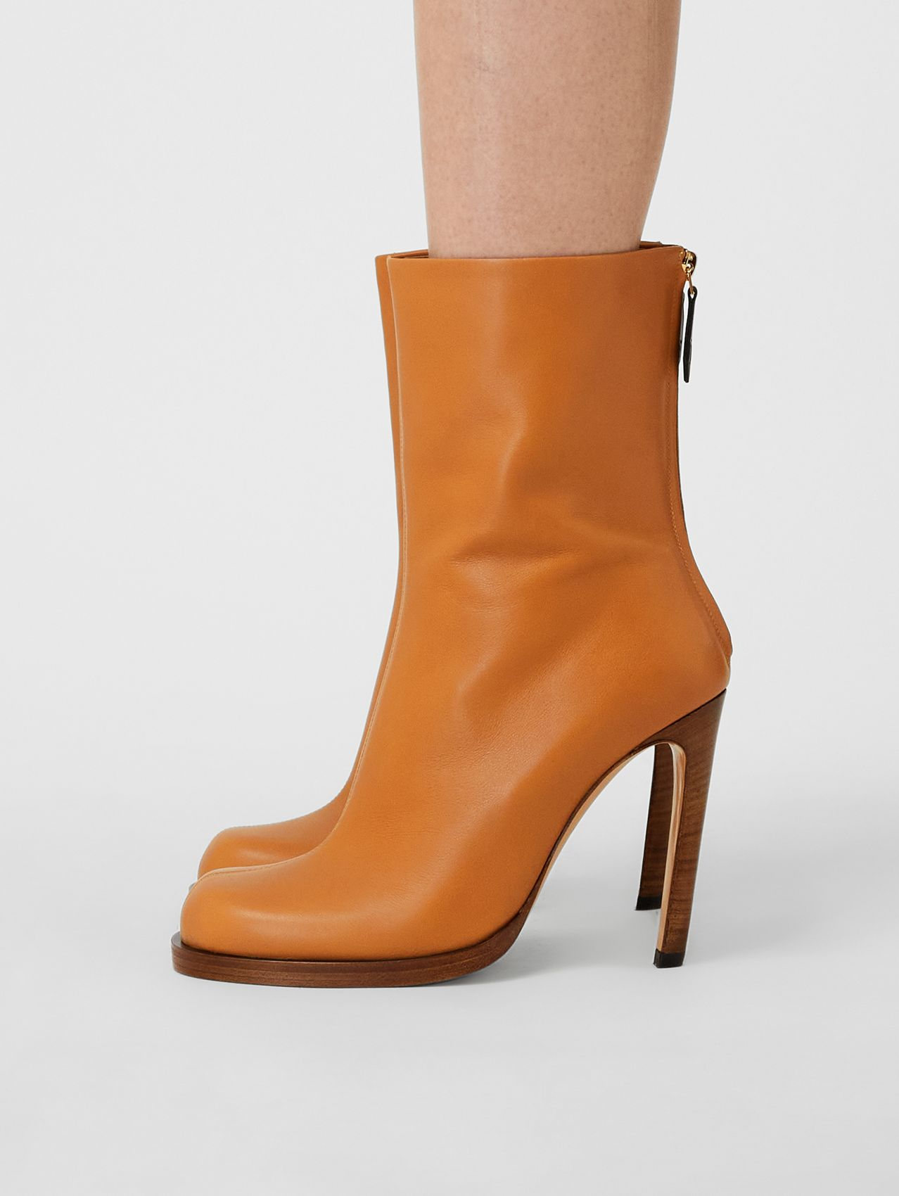 Vintage Check-lined Leather Ankle Boots in Ochre