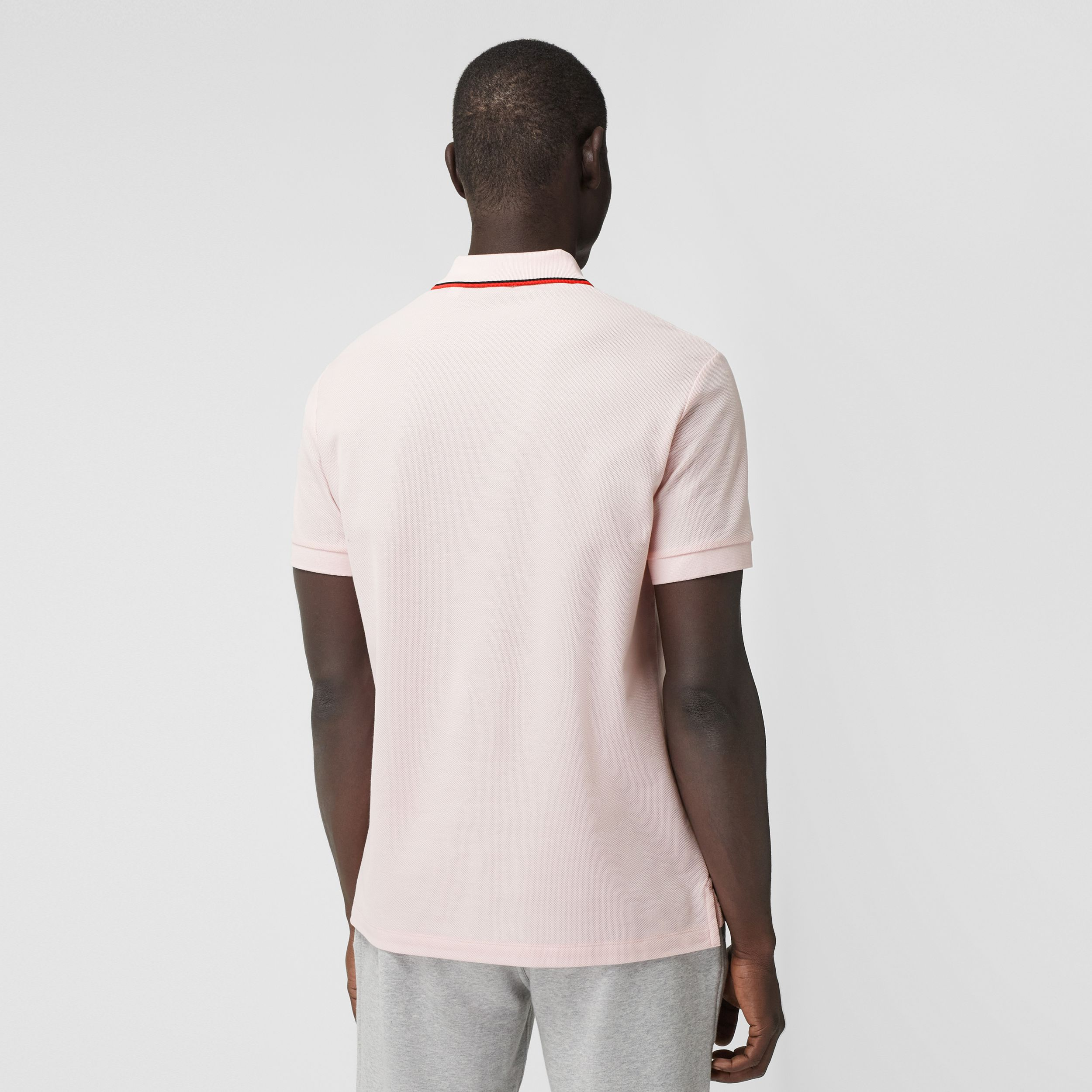 Monogram Motif Cotton Piqué Polo Shirt in Frosted Pink - Men | Burberry - 3