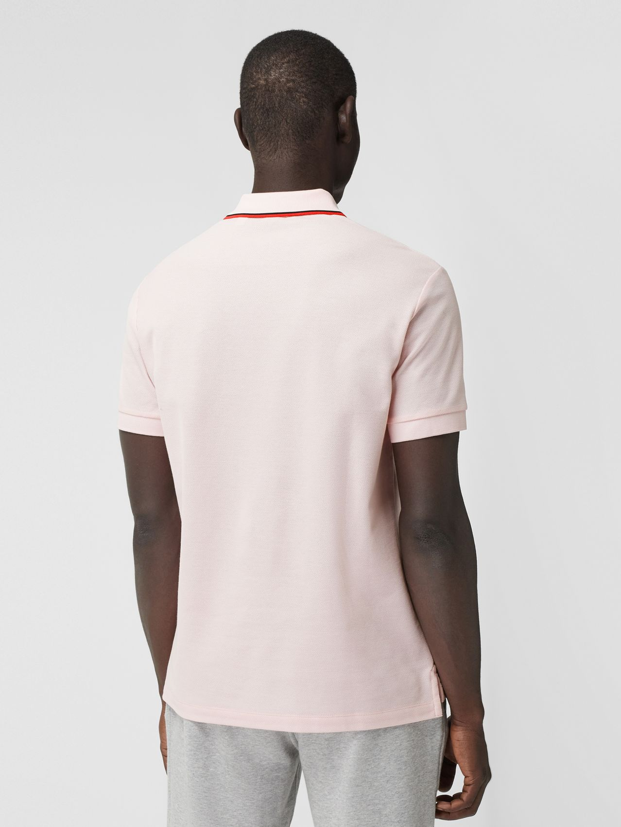 Monogram Motif Cotton Piqué Polo Shirt in Frosted Pink